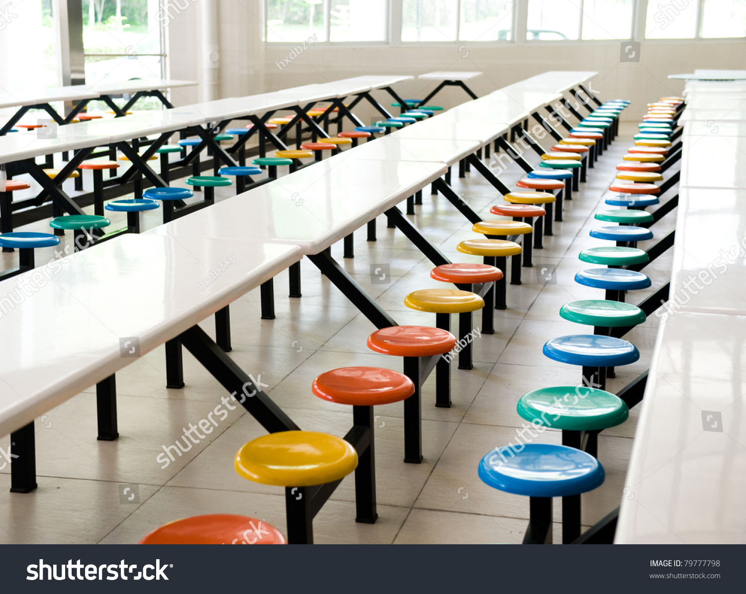 Clean cafeteria tables - Clean School Cafeteria With Many Empty Seats And Tables Stock Photo
