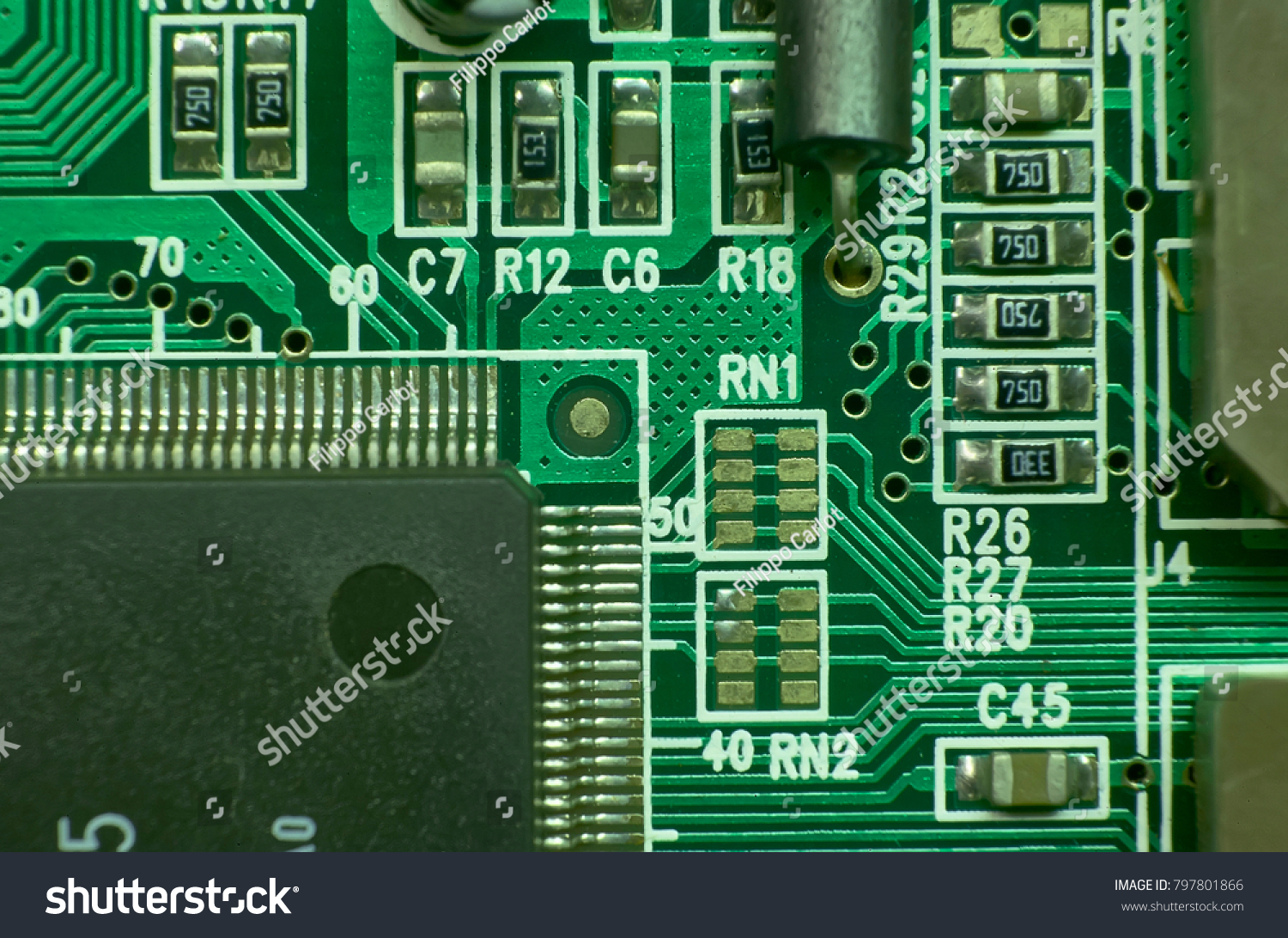 Contacts Electronic Circuits Printed Various Components Stock Photo Circuit And Projects With Microprocessors Excellent Texture For Graphic