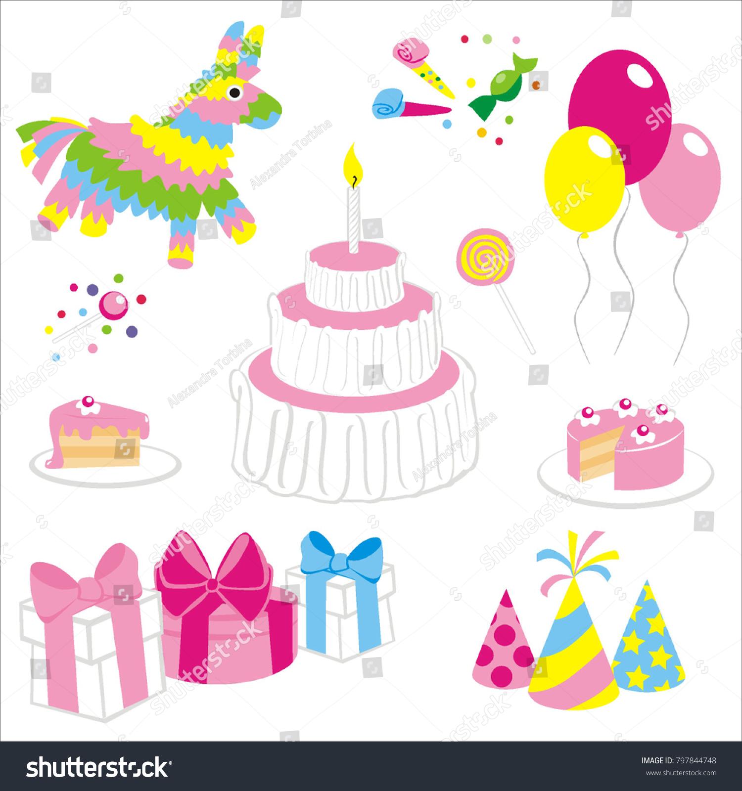Terrific Set Birthday Things Pinata Cake Balloons Stock Vector Royalty Funny Birthday Cards Online Elaedamsfinfo