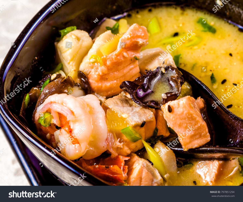 Asian Seafood Soup Spics Herbs Black ...
