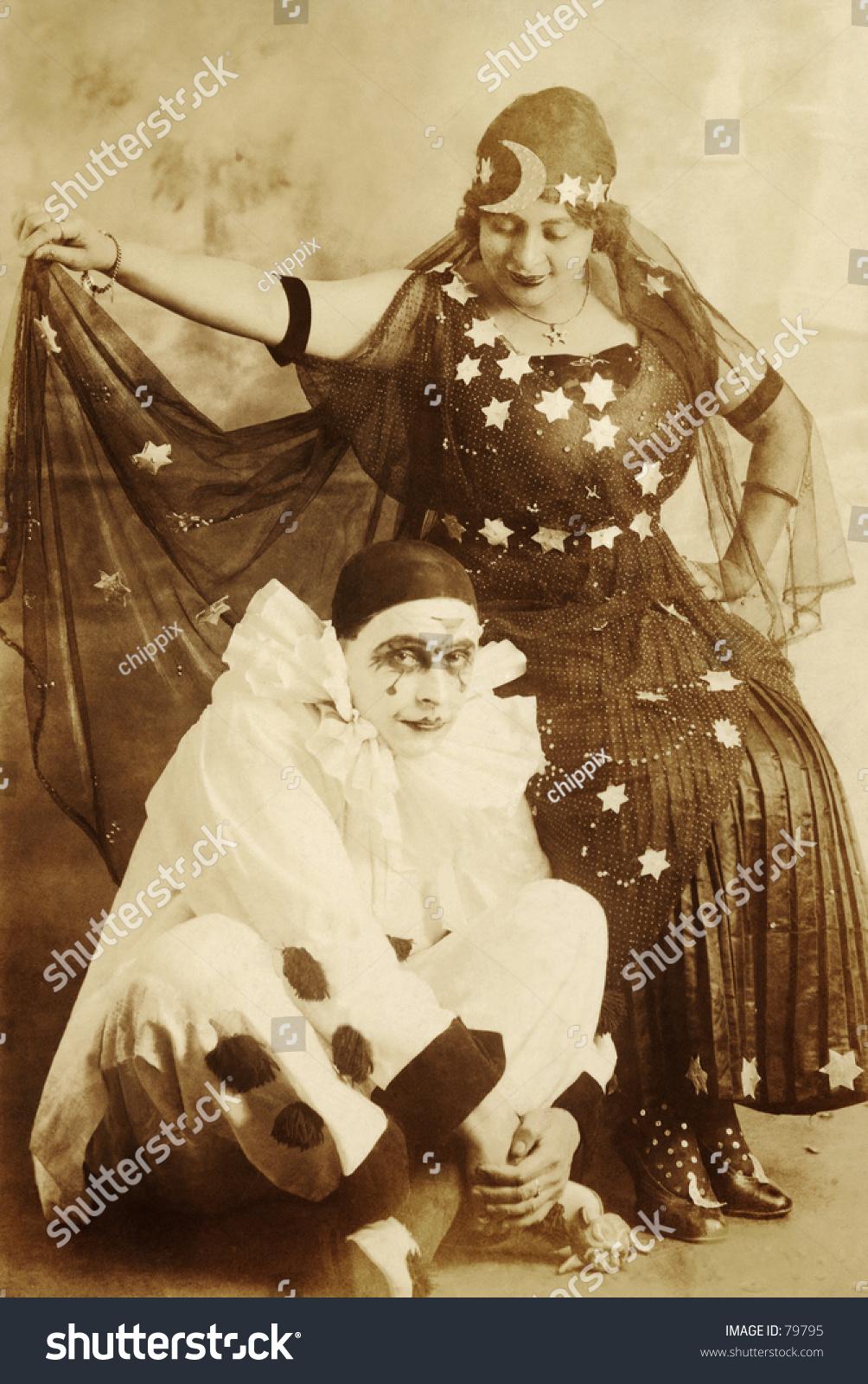vintage photo of fortuneteller with clown 79795. Black Bedroom Furniture Sets. Home Design Ideas