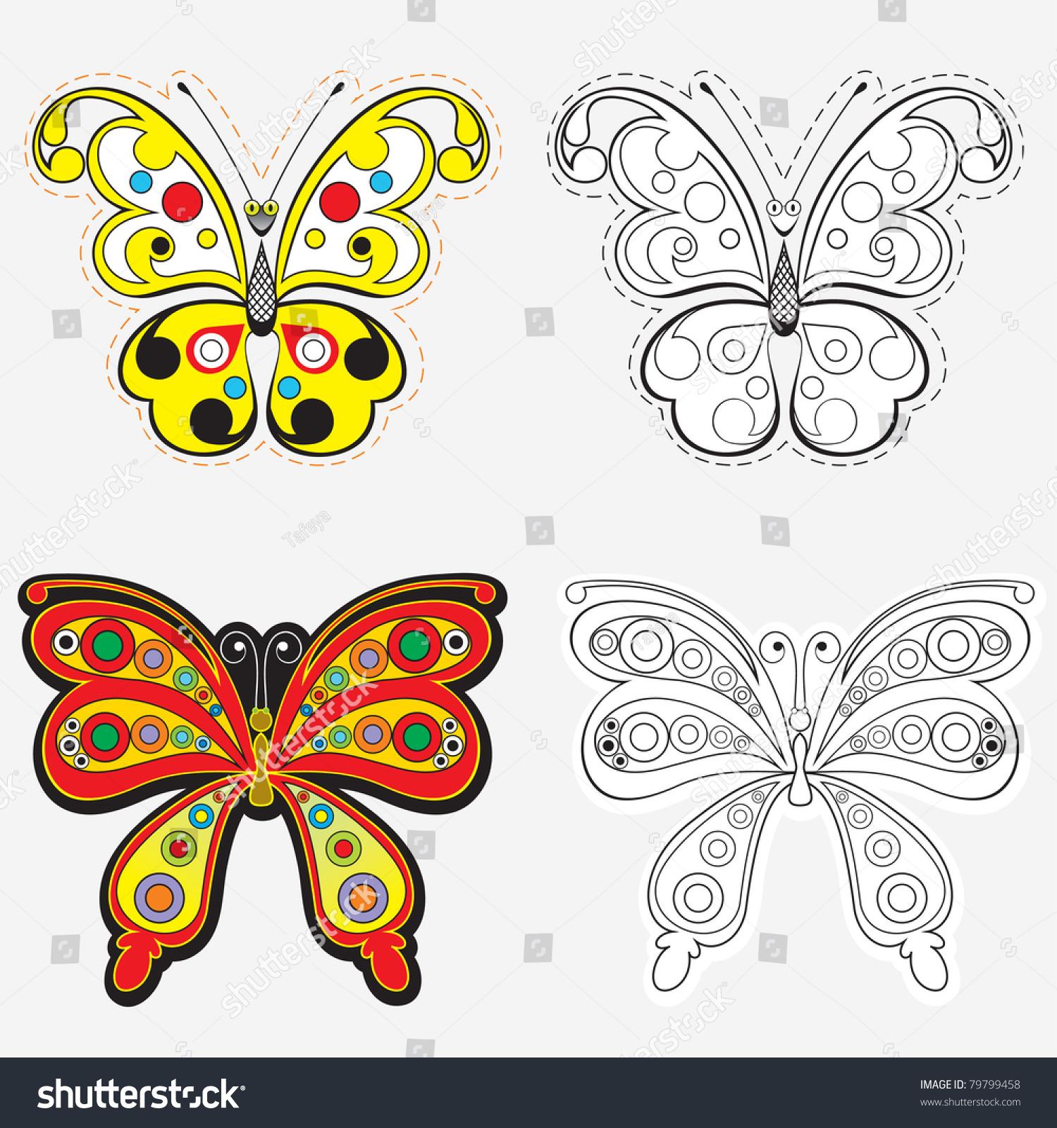 vector set butterflies drawing coloring stock vector 79799458