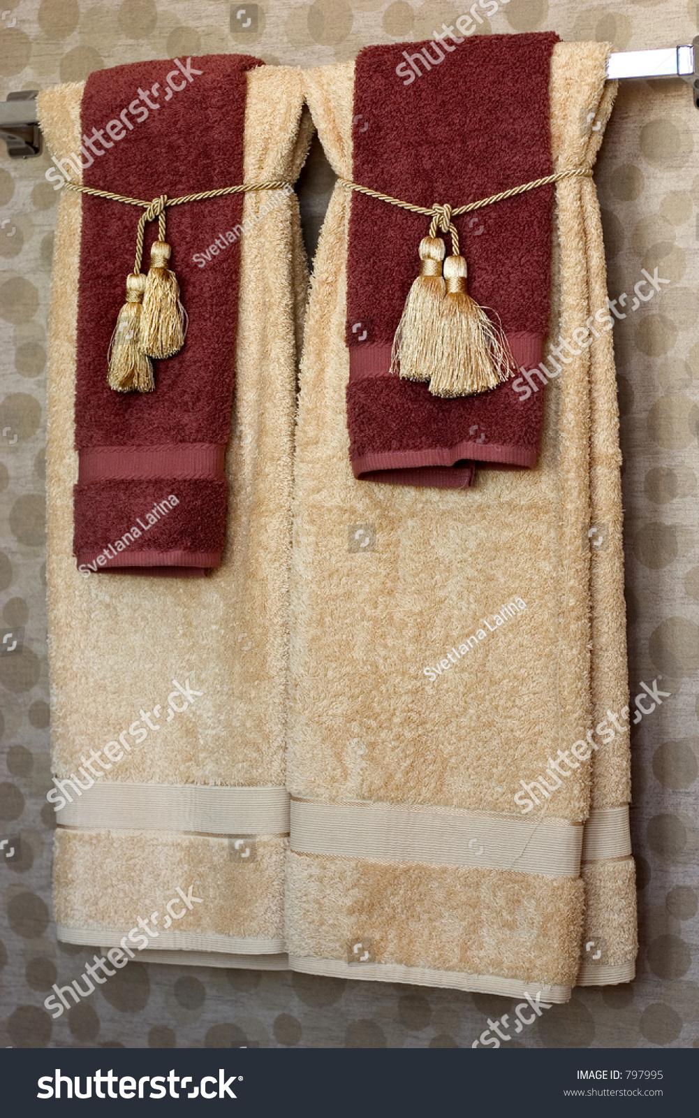 Luxurious Bath Towels Golden Tassels Stock Photo 797995