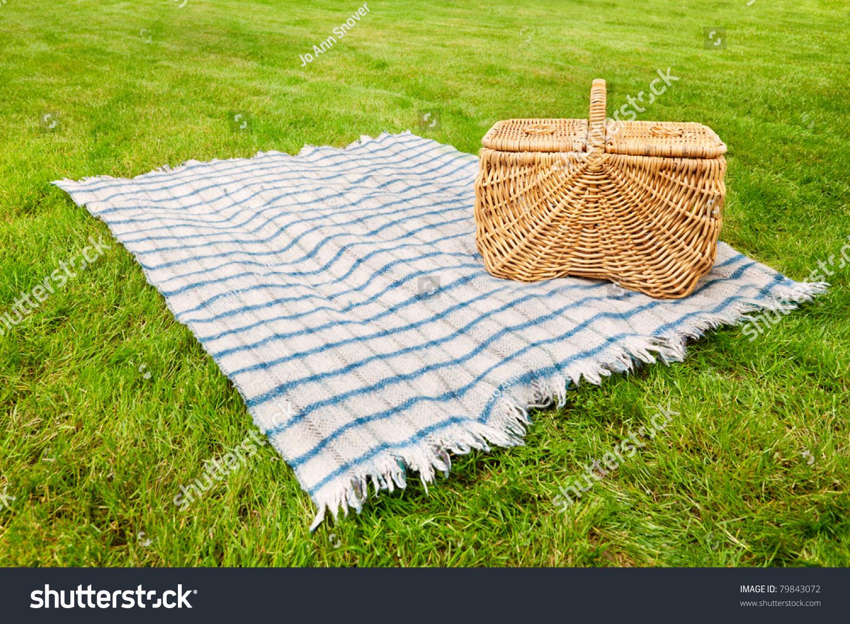 Picnic Blanket Basket Grass Stock Photo 79843072