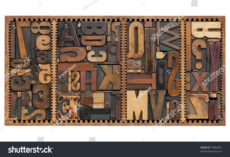 vintage letterpress printing blocks abstract variety stock photo