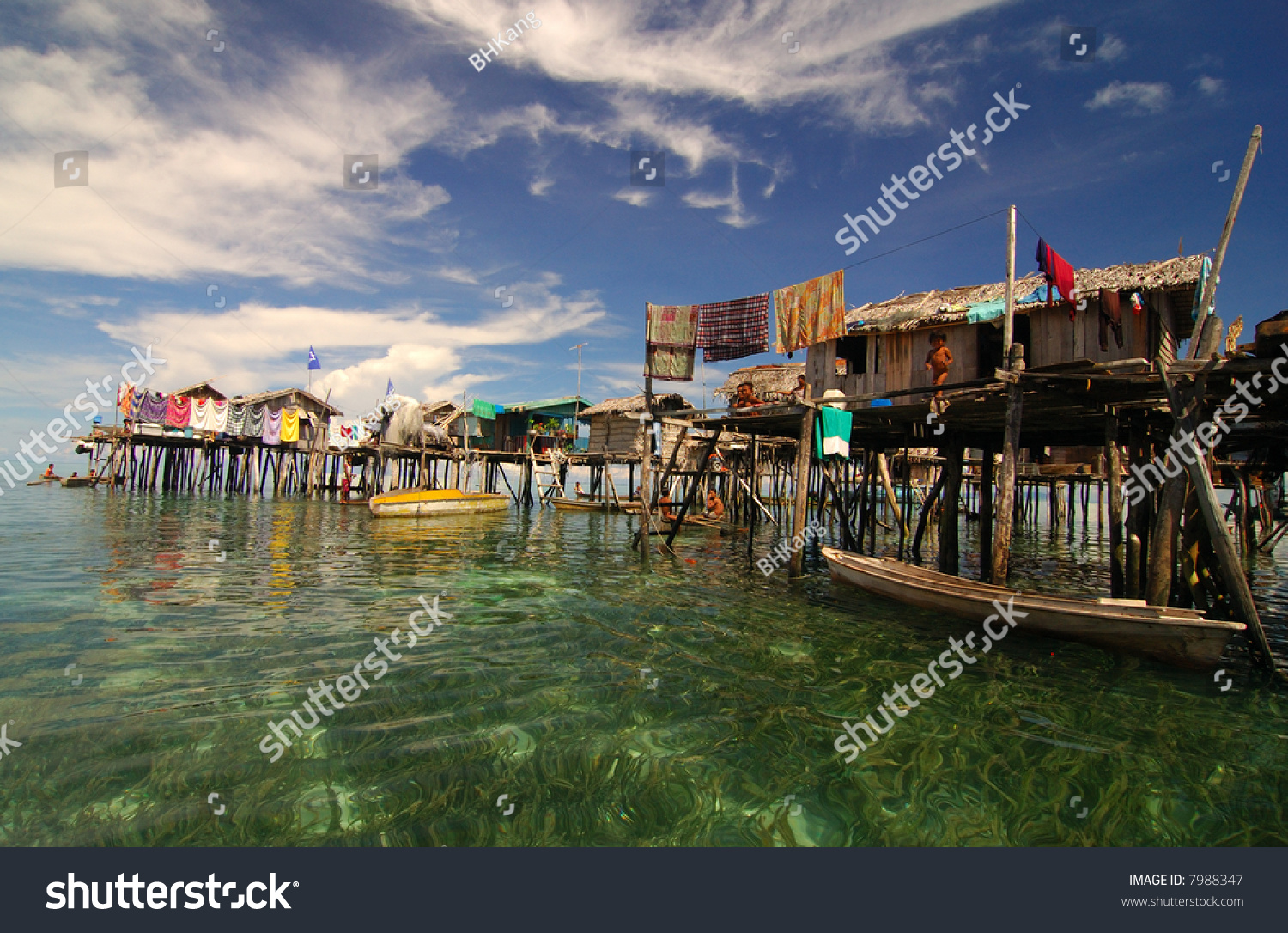 Wooden Houses Built On The Water Sabah Malaysia Stock