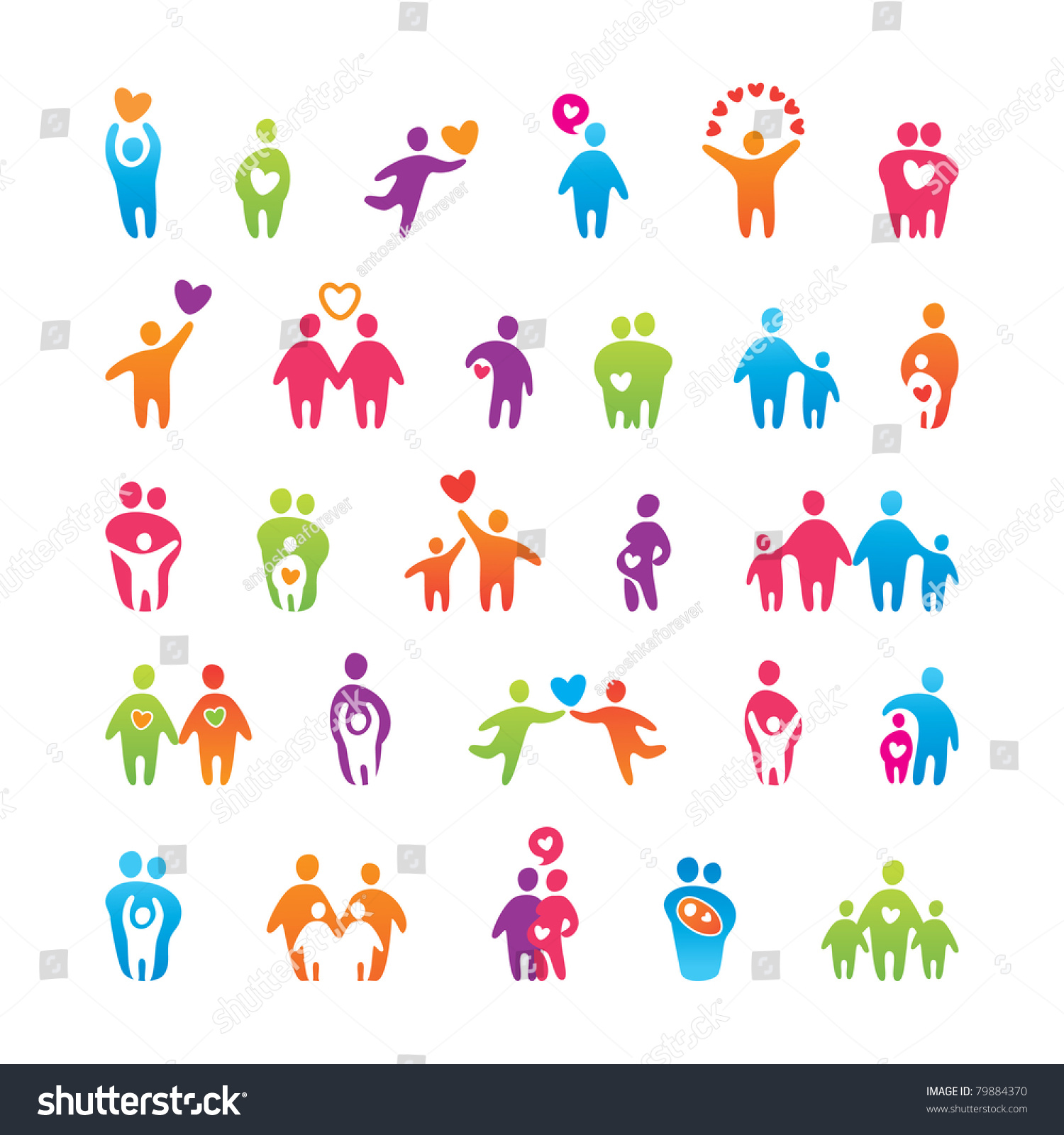 Big Vector Set Icons Love Family Stock Vector 79884370 ...