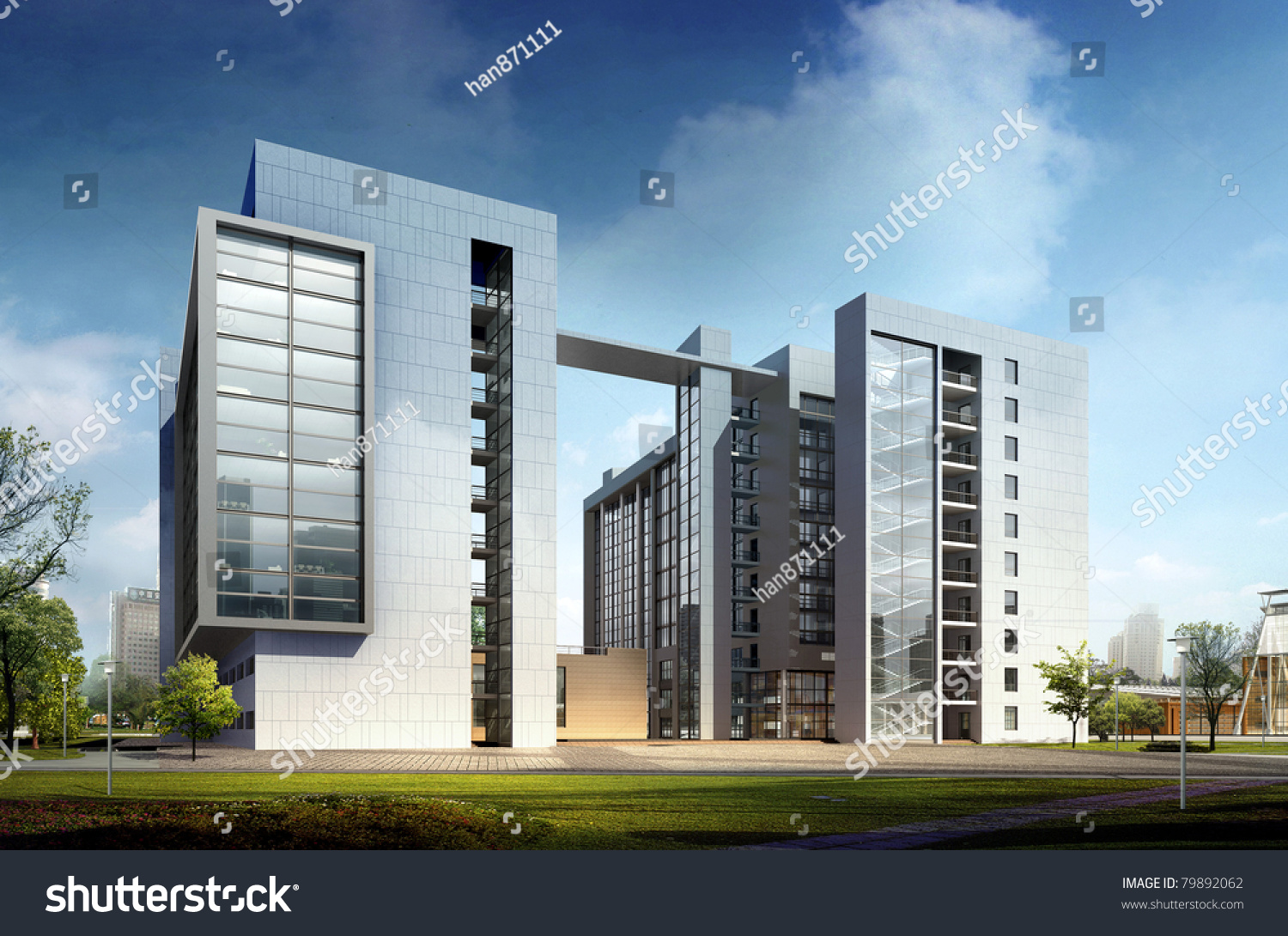 Modern commercial building stock illustration 79892062 for Modern commercial building exterior design