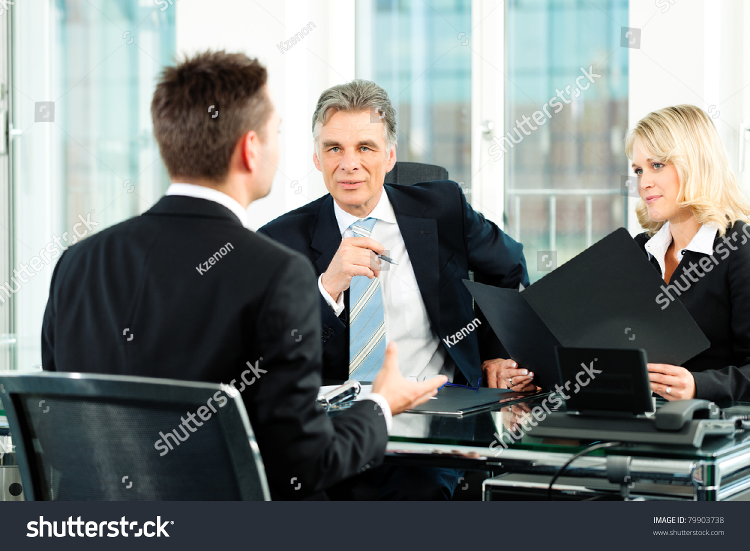 business young man sitting in job interview stock photo  save to a lightbox