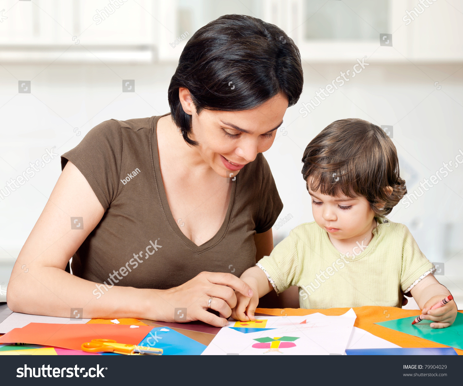 Beautiful Mother Daughter Making Drawing Stock Photo 79904029 ...