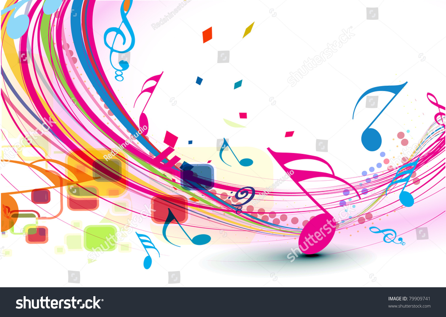 Rainbow Music Background Meaning Colorful Lines And Melody: Abstract Music Notes Design Music Background Stock Vector