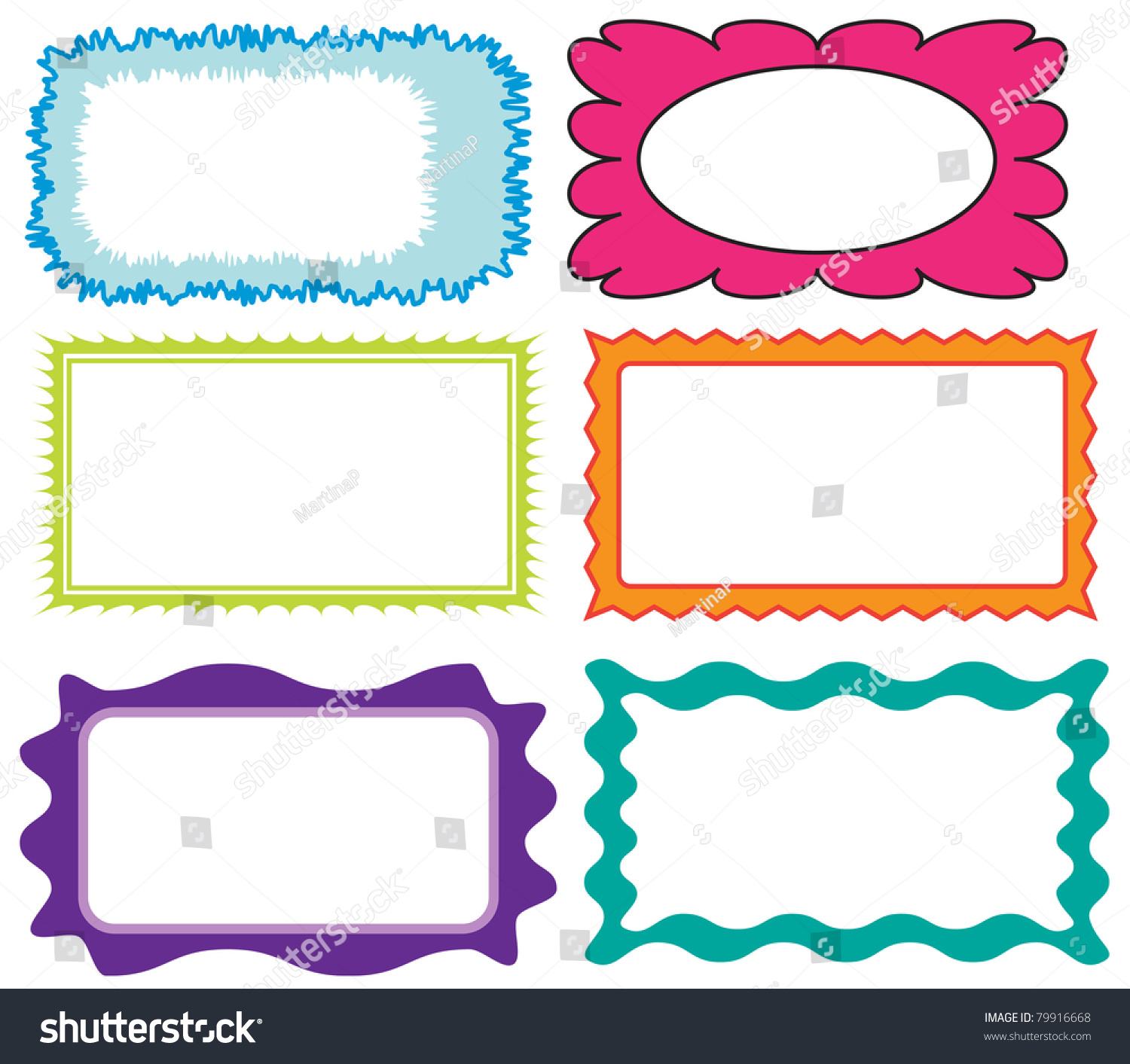 set of colorful cute frames