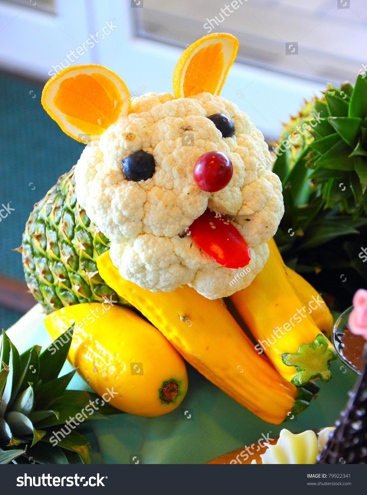 Dog made vegetables fruits food carving stock photo