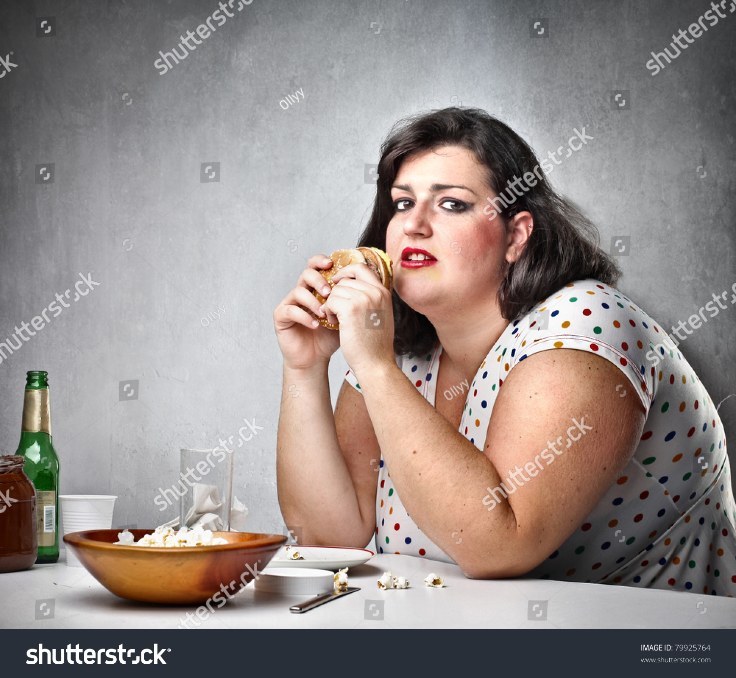 fat woman with snack
