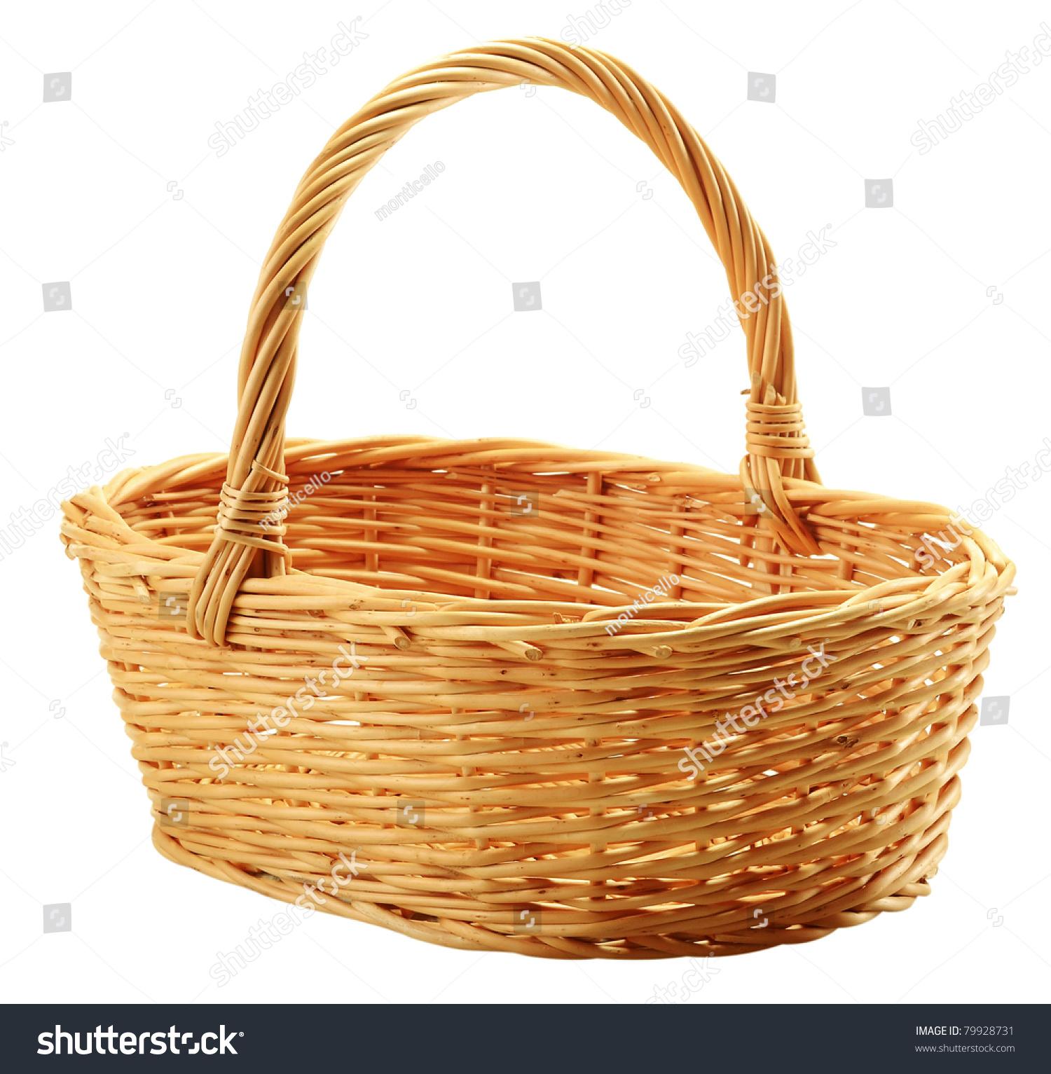 Empty Wicker Basket Isolated On White Stock Photo 79928731