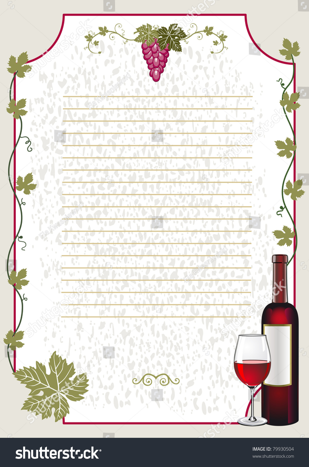 Wine card background restaurant menu template stock vector wine card background restaurant menu template bottle of red wine glass and bunch pronofoot35fo Gallery