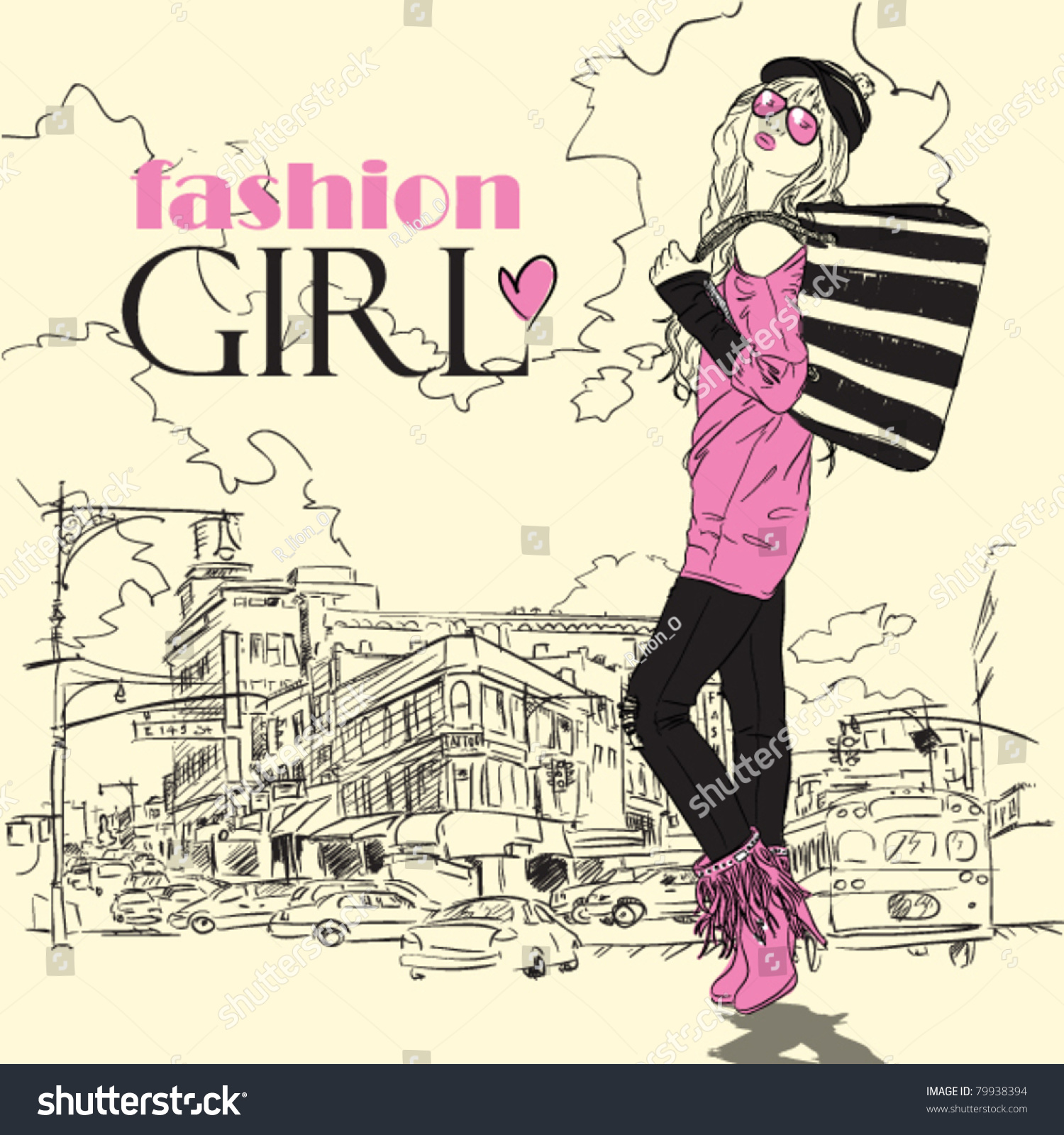 Fashion Girl Sketchstyle On Townbackground Vector Stock Vector 79938394 Shutterstock