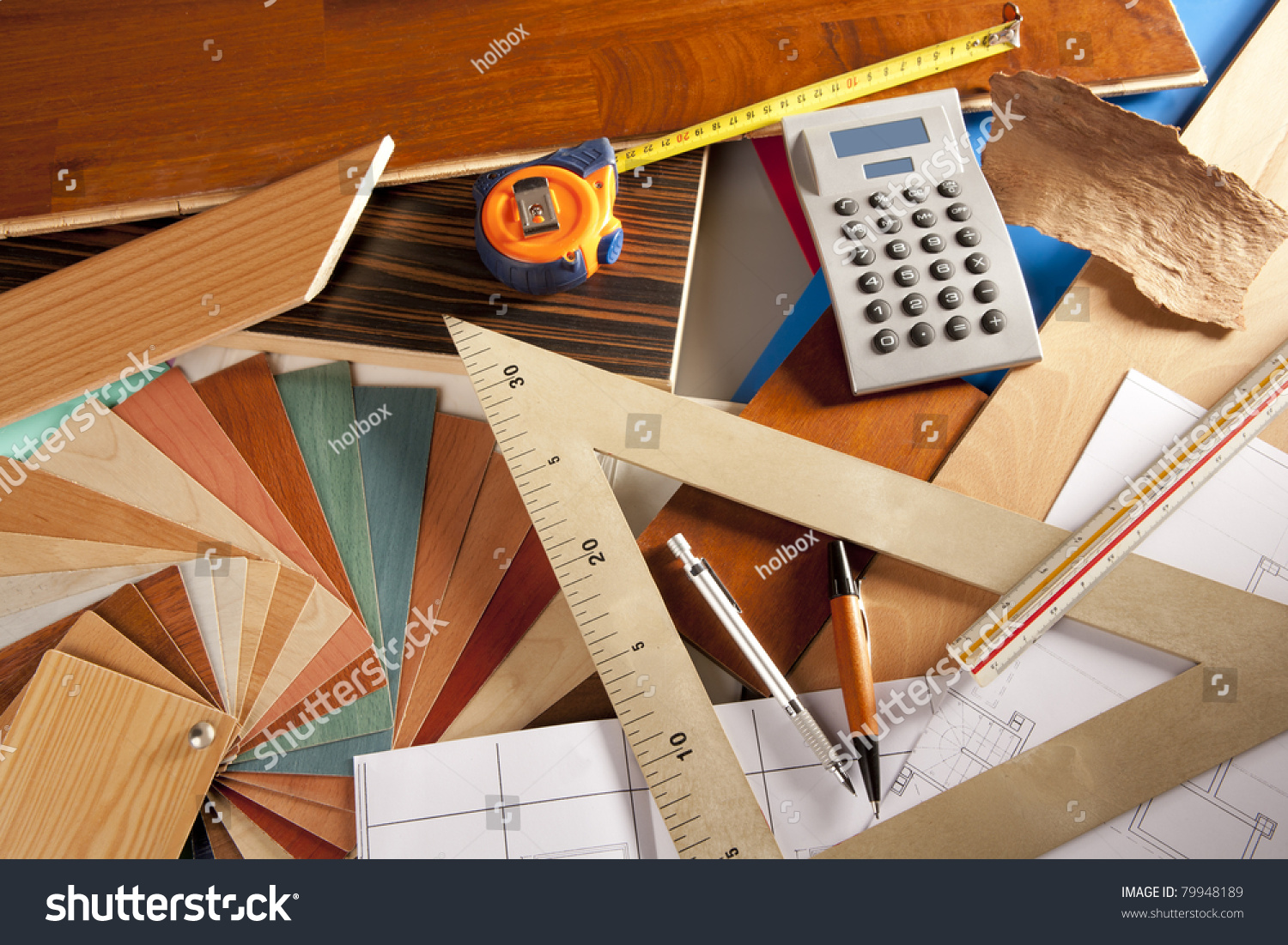 Architect interior designer or carpenter workplace with for Interior design tools