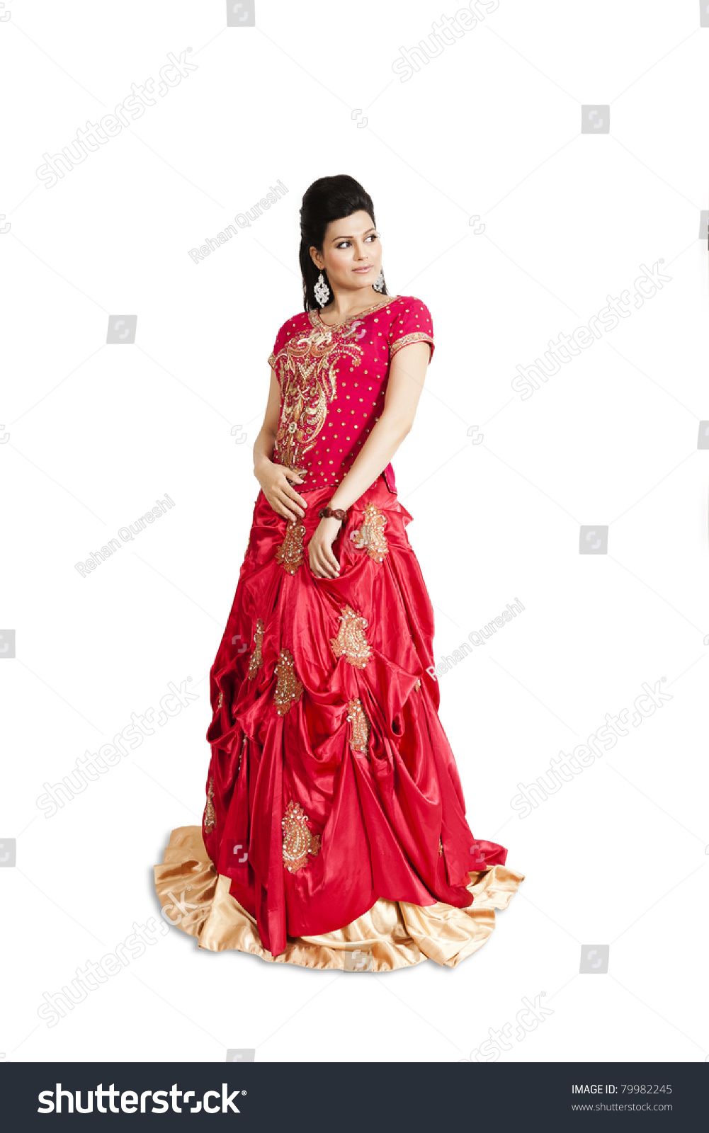 Indian Bride Wearing Red Bridal Gown Stock Photo (Edit Now ...