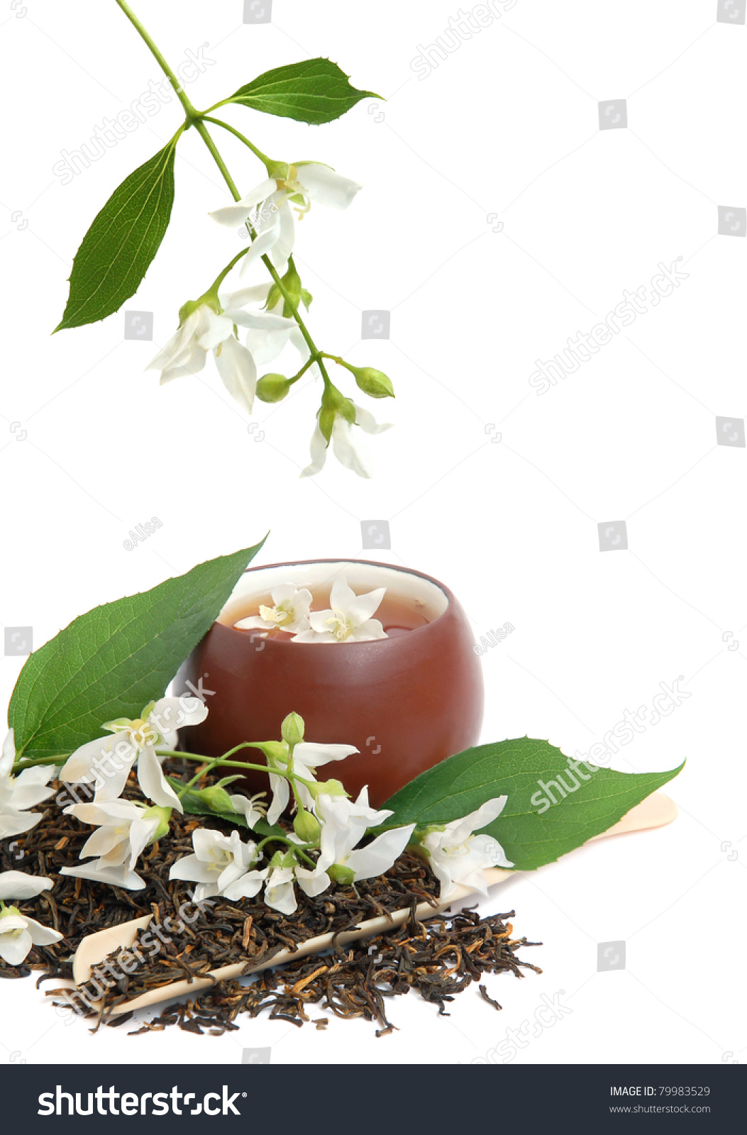 Tea leaves fresh jasmine flowers chinese stock photo edit now tea leaves with fresh jasmine flowers and chinese cup on white background izmirmasajfo