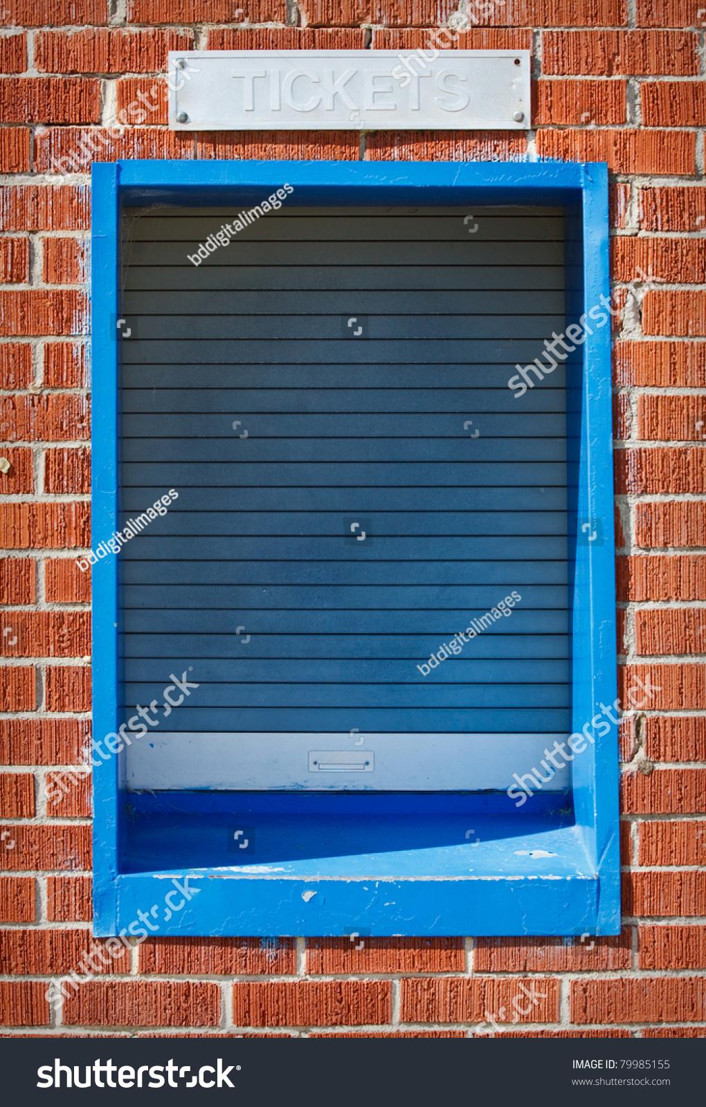 Closed ticket window sports arena stock photo
