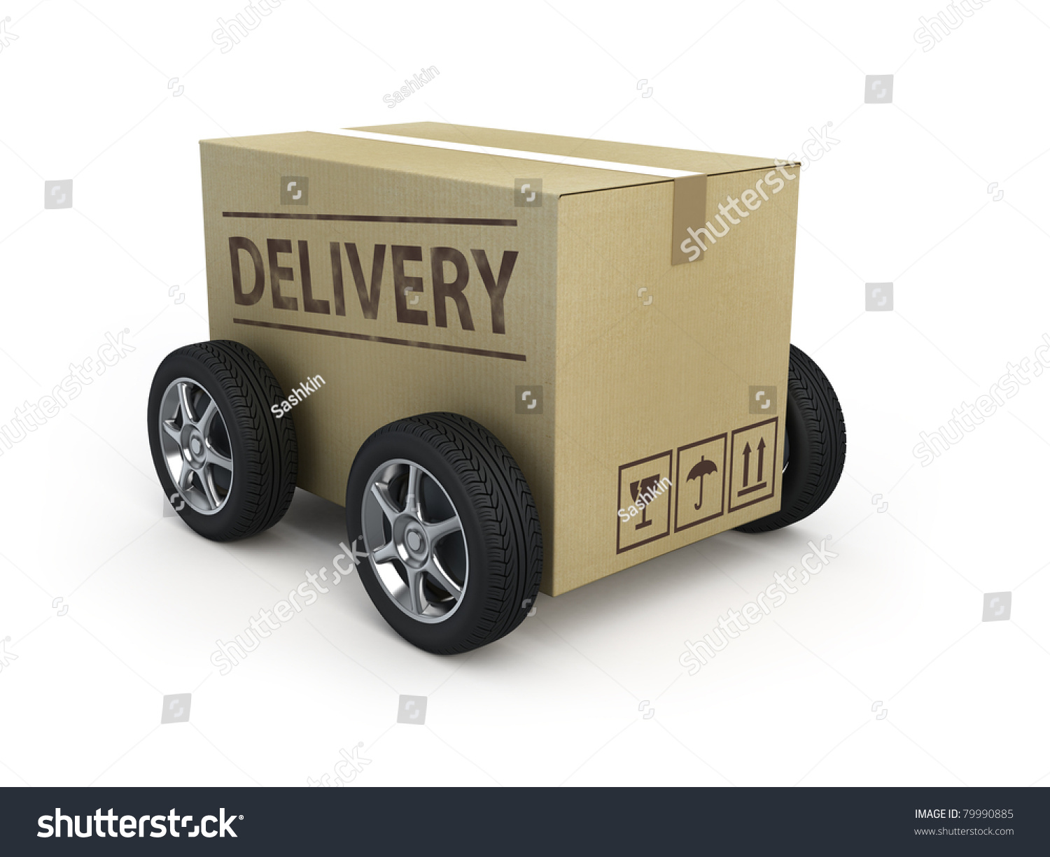 Cardboard box wheels delivery concept stock photo 79990885 for How to make a cardboard box car that moves