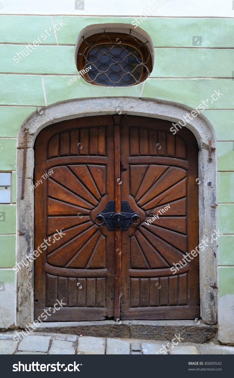 Old wooden door in prague czech republic stock photo for Door z prague