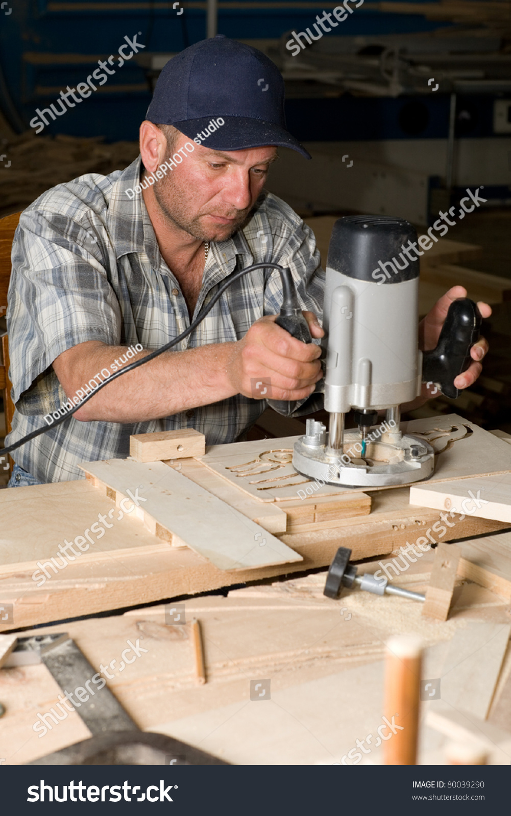 Carpentry Carpenter Woodworker Woodworking Wooden: Carpenter Working Woodworking Shop Stock Photo 80039290