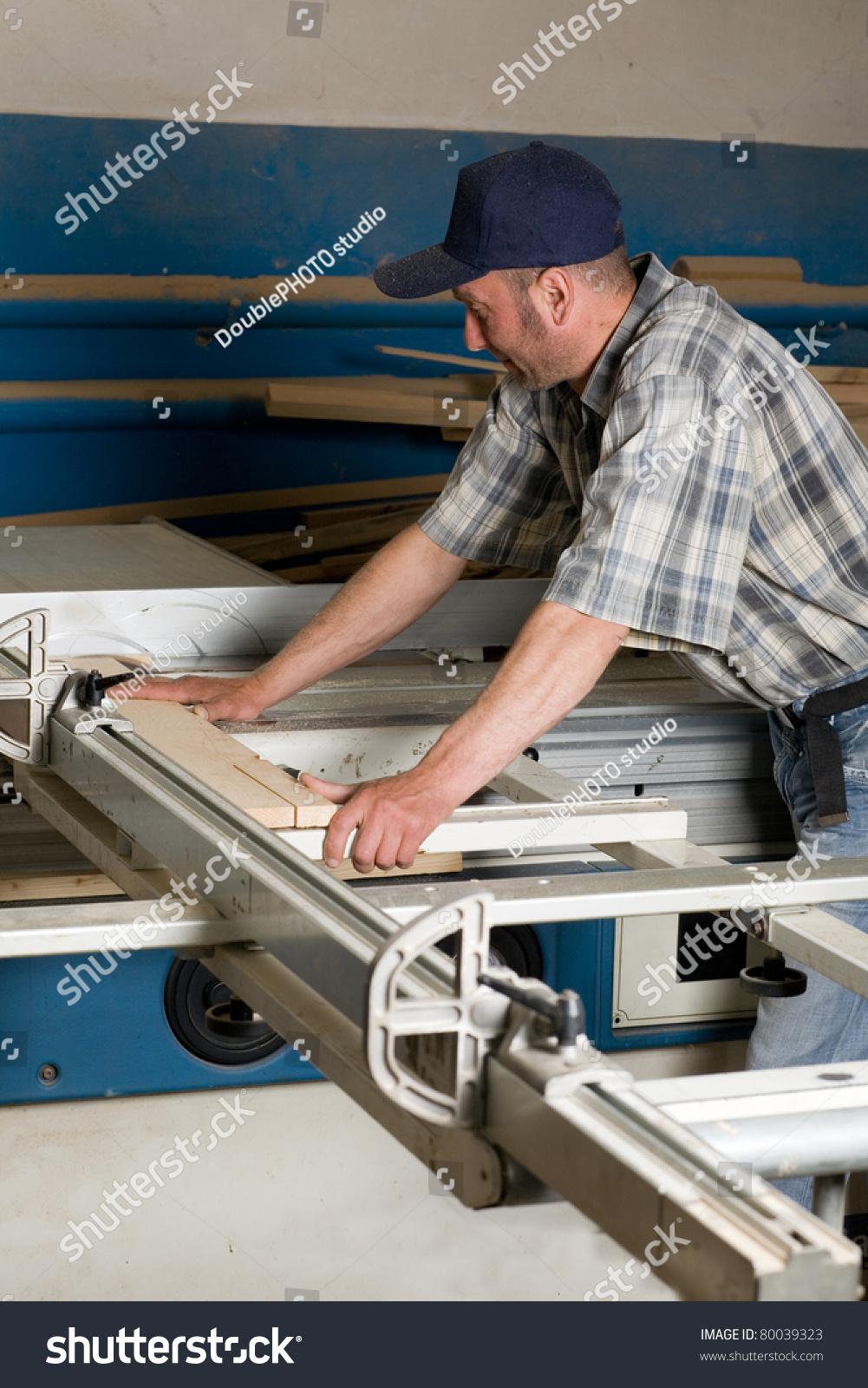 Carpentry Carpenter Woodworker Woodworking Wooden: Carpenter Working On Woodworking Machines In Carpentry