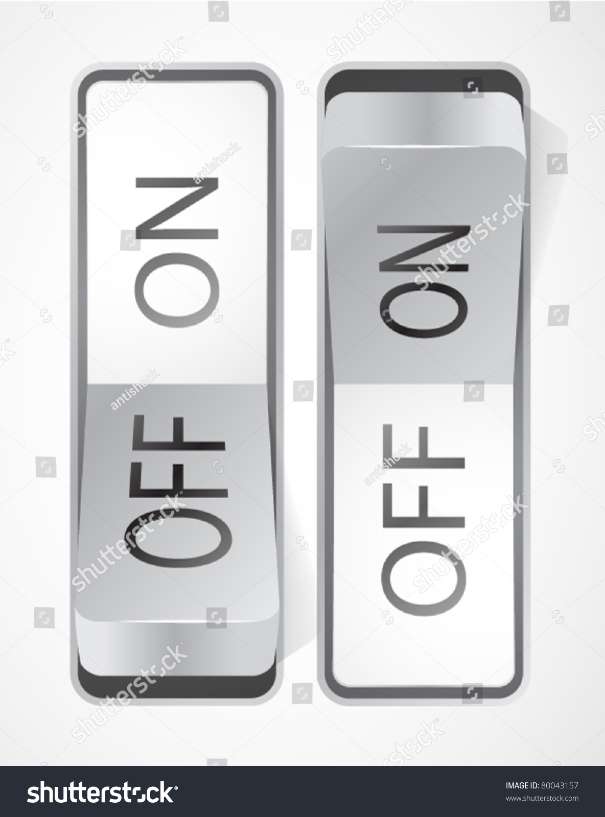 Toggle Switch On Off Buttons Stock Vector (Royalty Free) 80043157 ...
