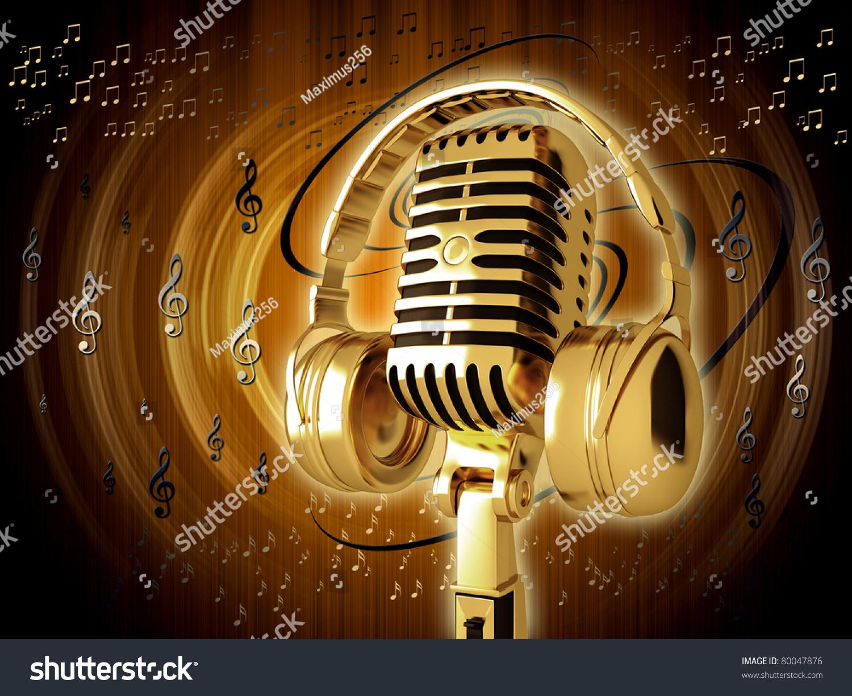 Headphones Music Microphones 4500x4100 Wallpaper: Microphone Headphones On Background Stock Illustration