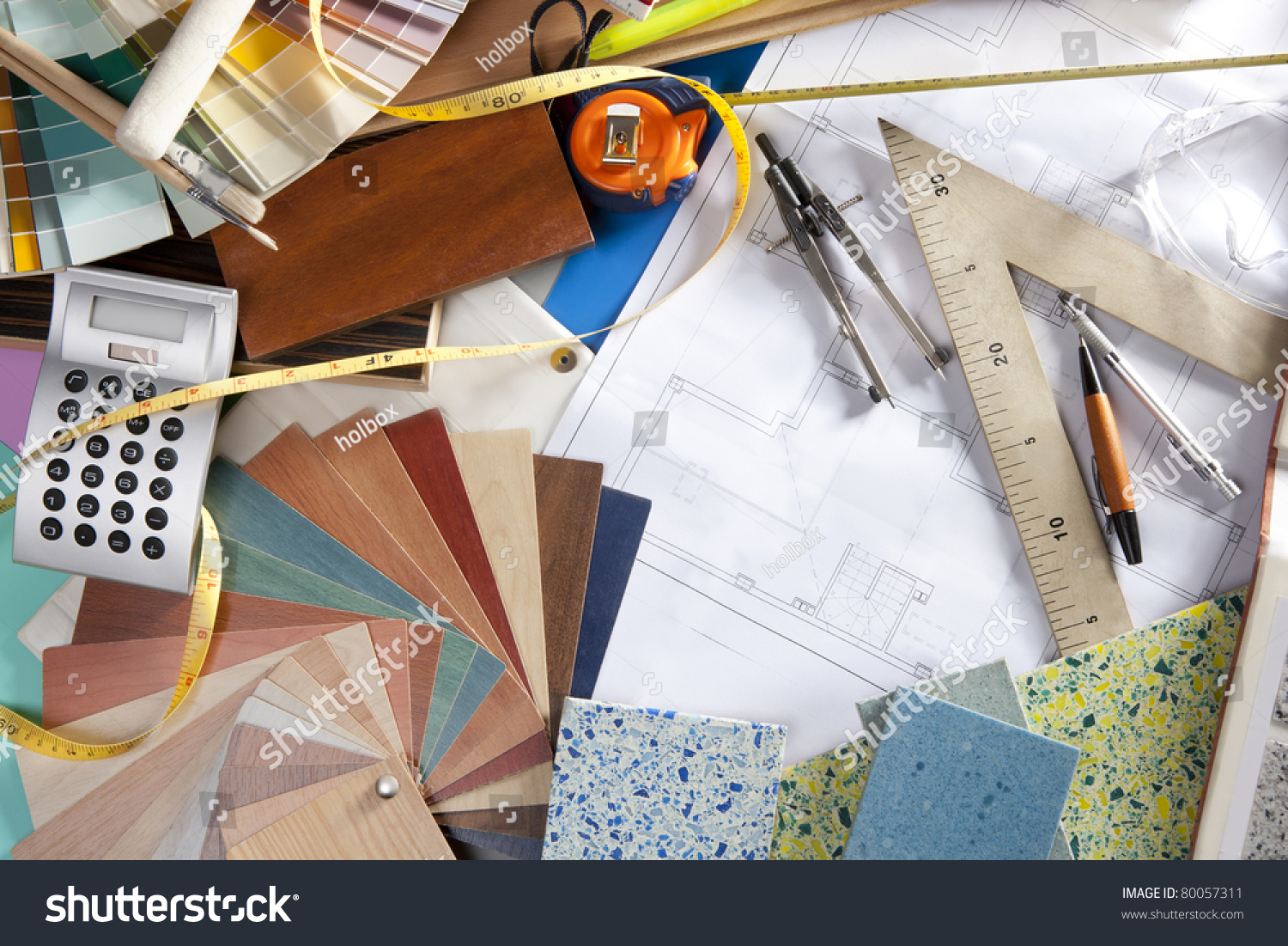 Architect Or Interior Designer Workplace Desk And Design Tools With Lots Of Construction