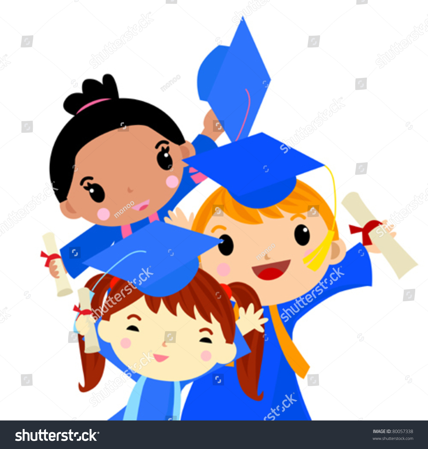 graduation kids stock vector 80057338   shutterstock