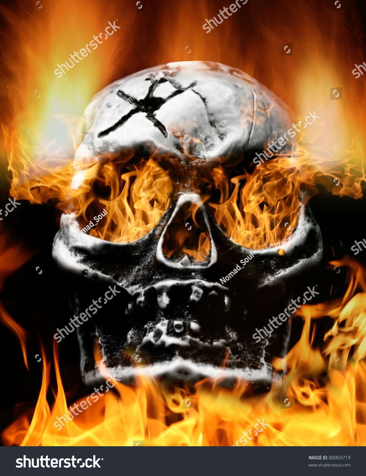 Very Scary Flaming Skull. Concept Of Horror Stock Photo ...  Very Scary Flam...