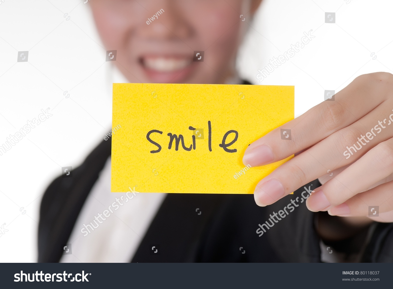 Smile On Business Card Holding By Stock Photo 80118037 - Shutterstock