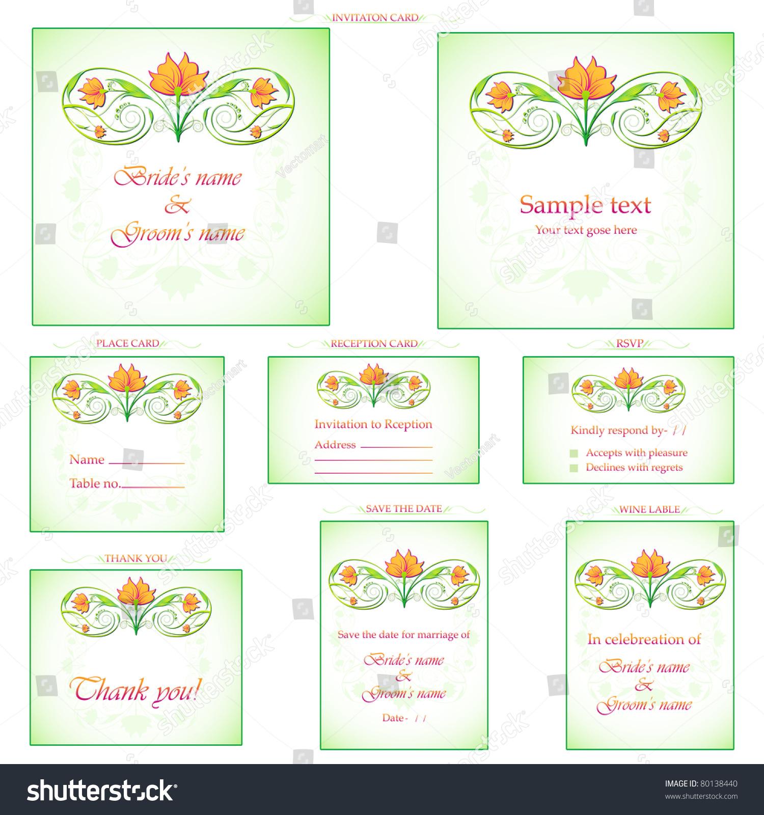 Illustration set wedding reception invitation card stock vector illustration of set of wedding reception invitation card stopboris Images