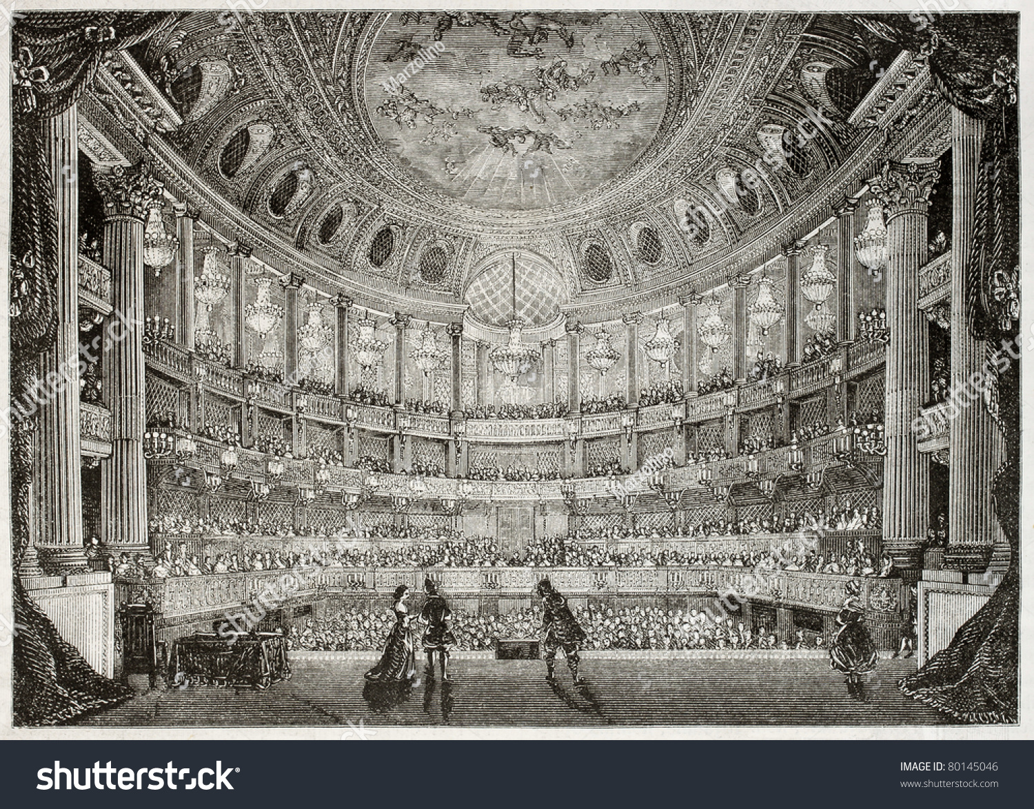 old illustration of royal opera of versailles created by davioud published on magasin. Black Bedroom Furniture Sets. Home Design Ideas