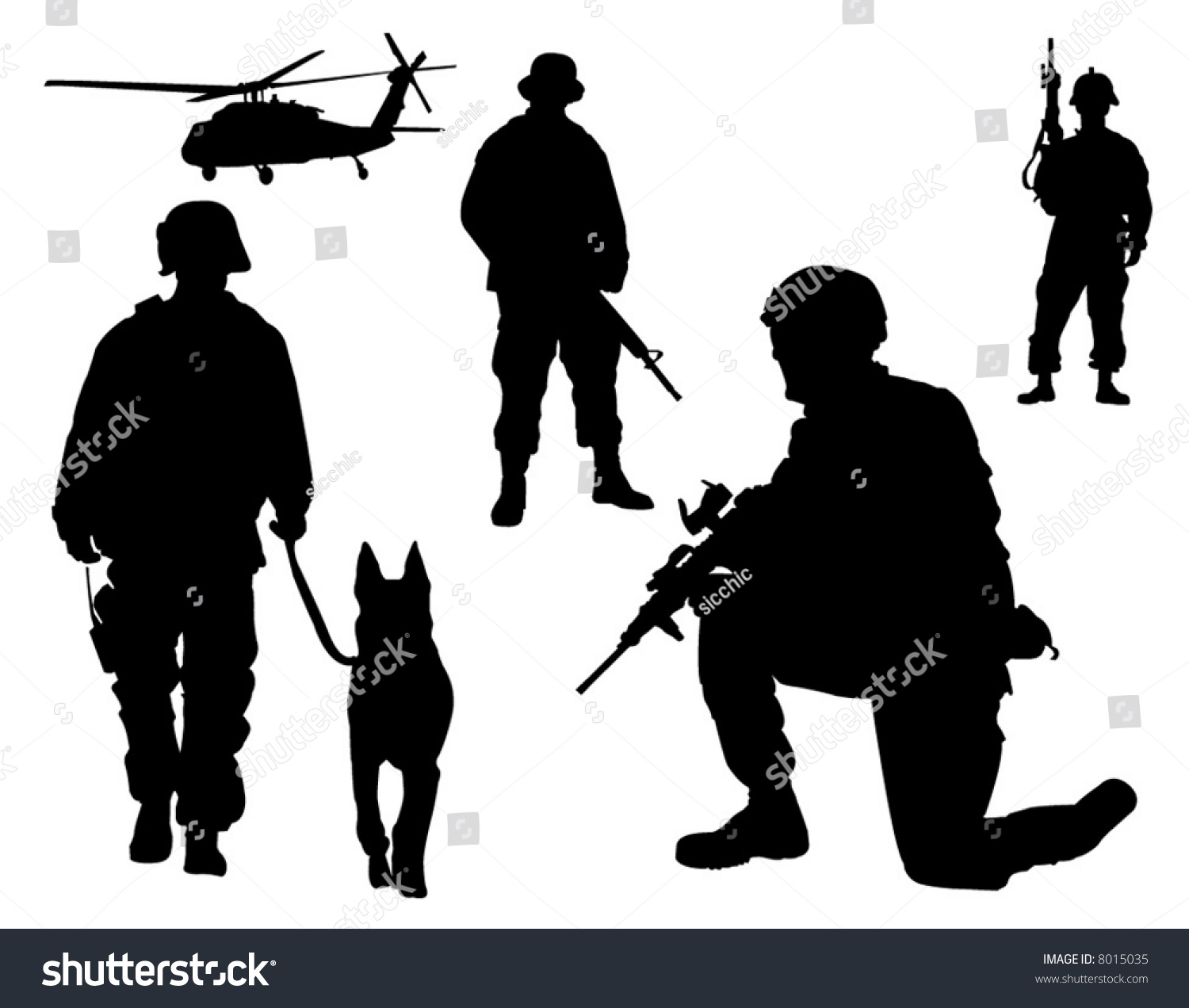 Silhouette Soldiers Stock Vector 8015035 Shutterstock