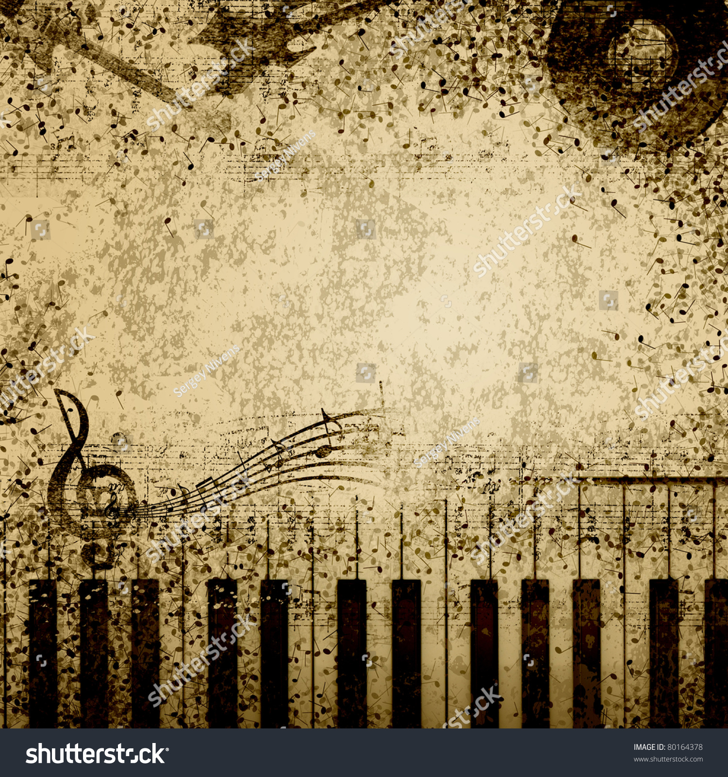 music notes on old paper sheet background stock photo