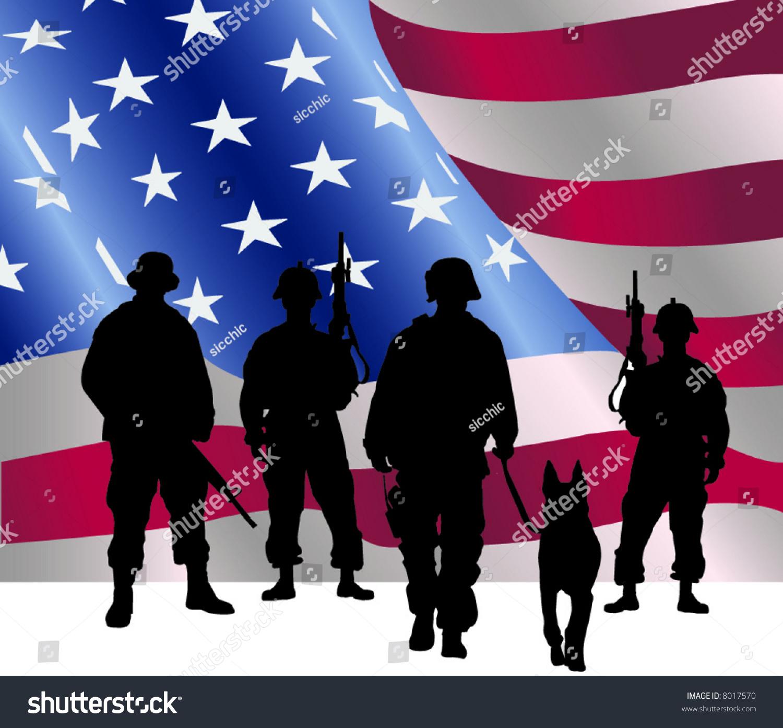 silhouette soldiers front american flag stock vector german shepherd looks skinny german shepherd logan ohio