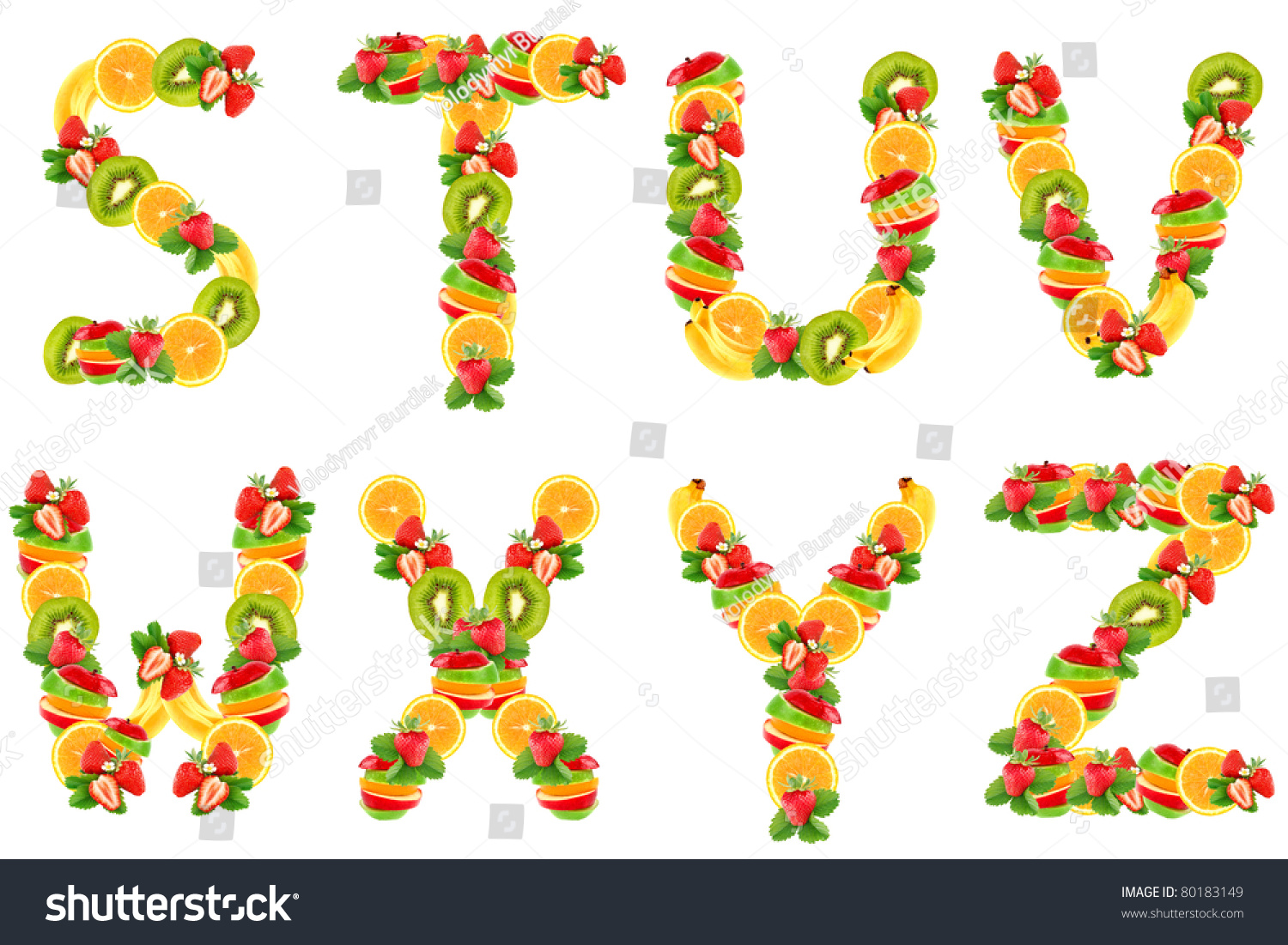 Letters Alphabet From Fruit Stock Photo 80183149 ...