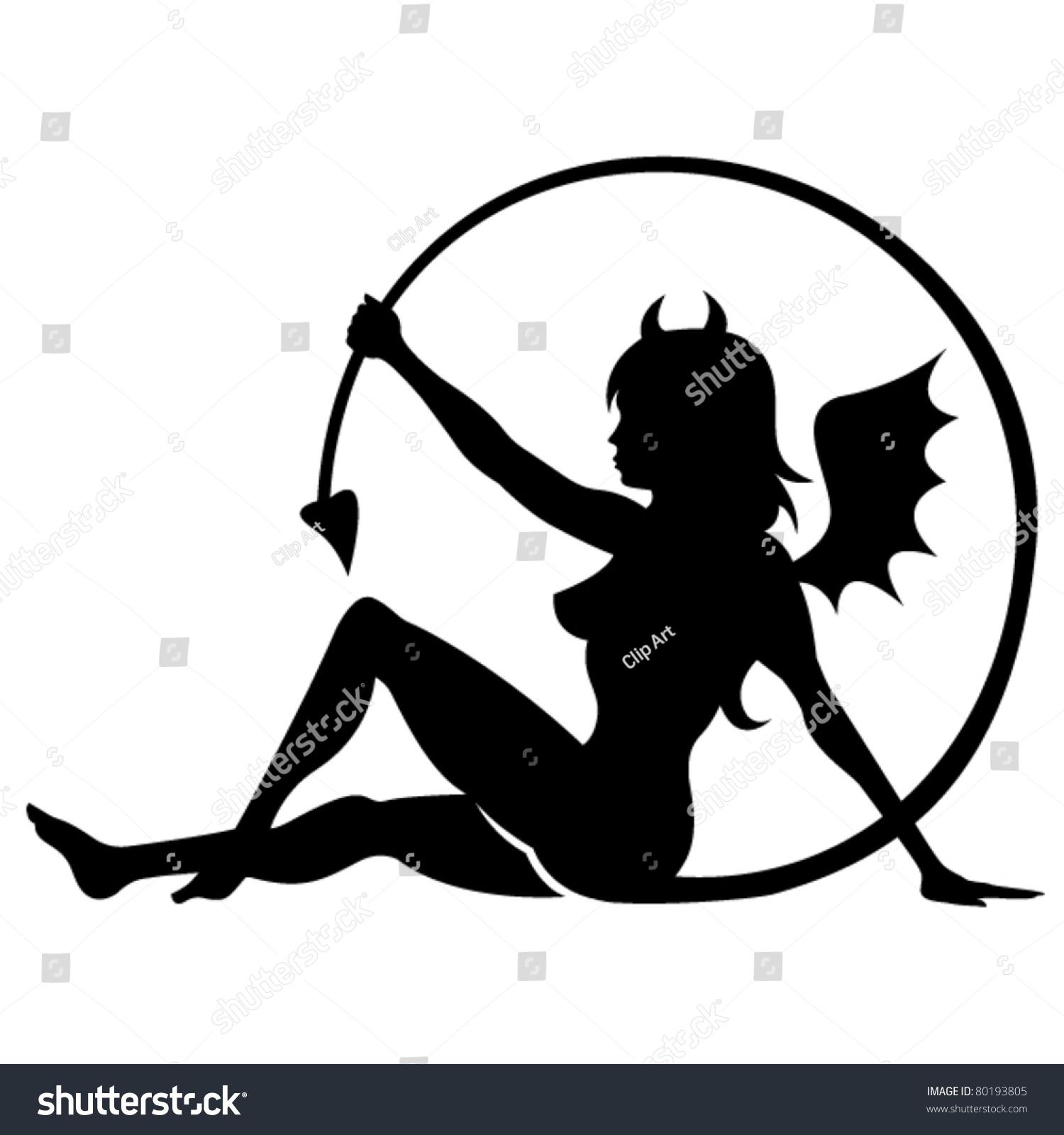 Devil girl tattoo design silhouette stock vector 80193805 for Female silhouette tattoo