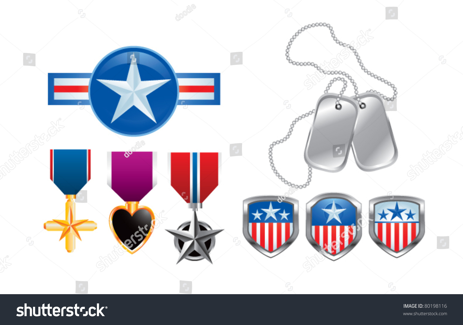 American Pins Military Medals Dog Tags Stock Vector 80198116 ...