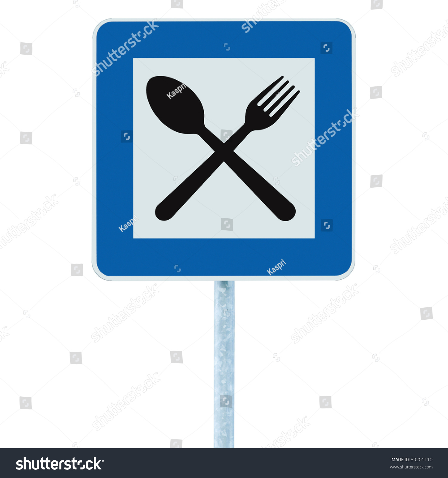 Restaurant Sign On Post Pole Traffic Road Roadsign Blue