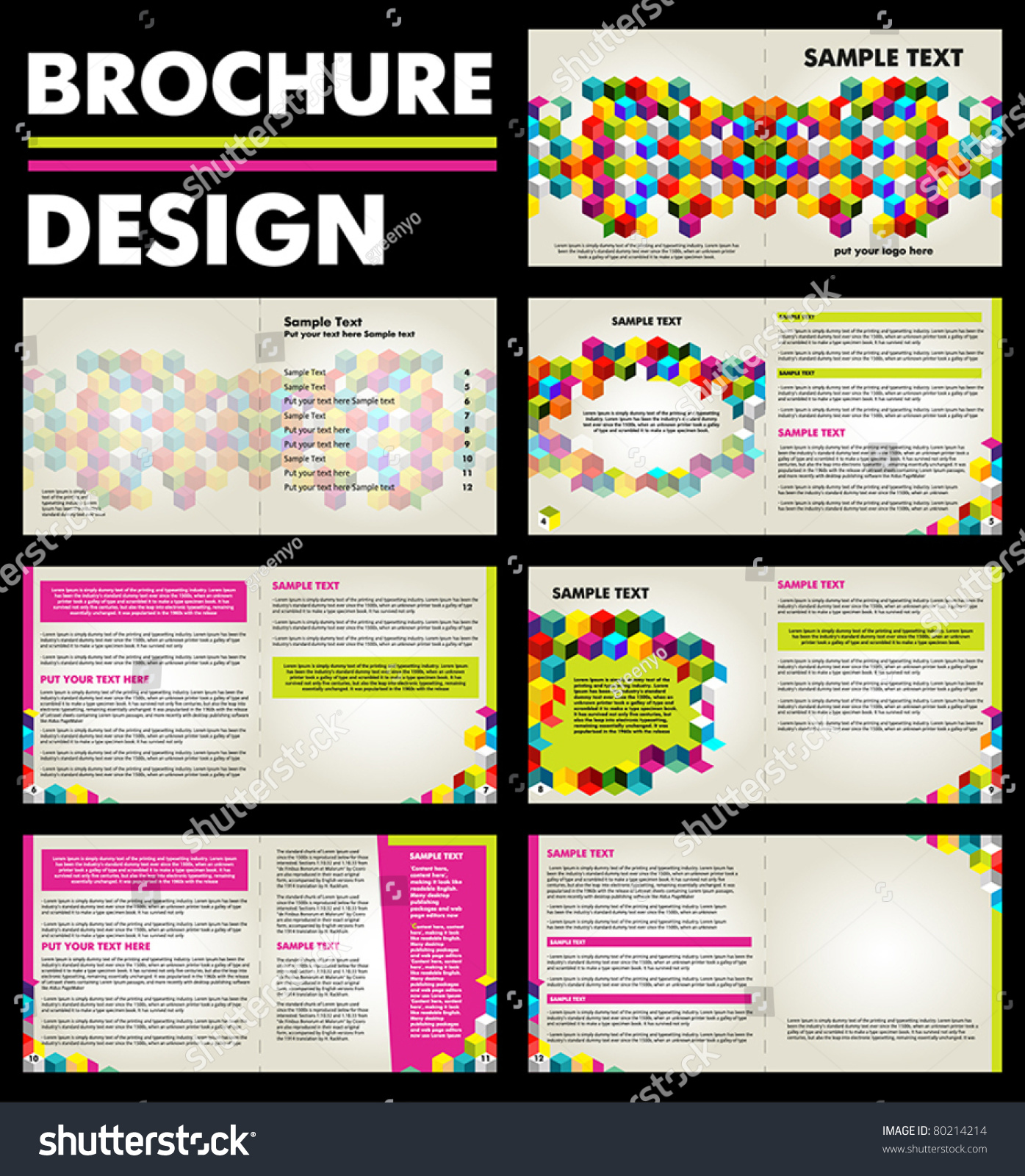 Colorful brochure design layout template with 14 pages for Brochure front cover design