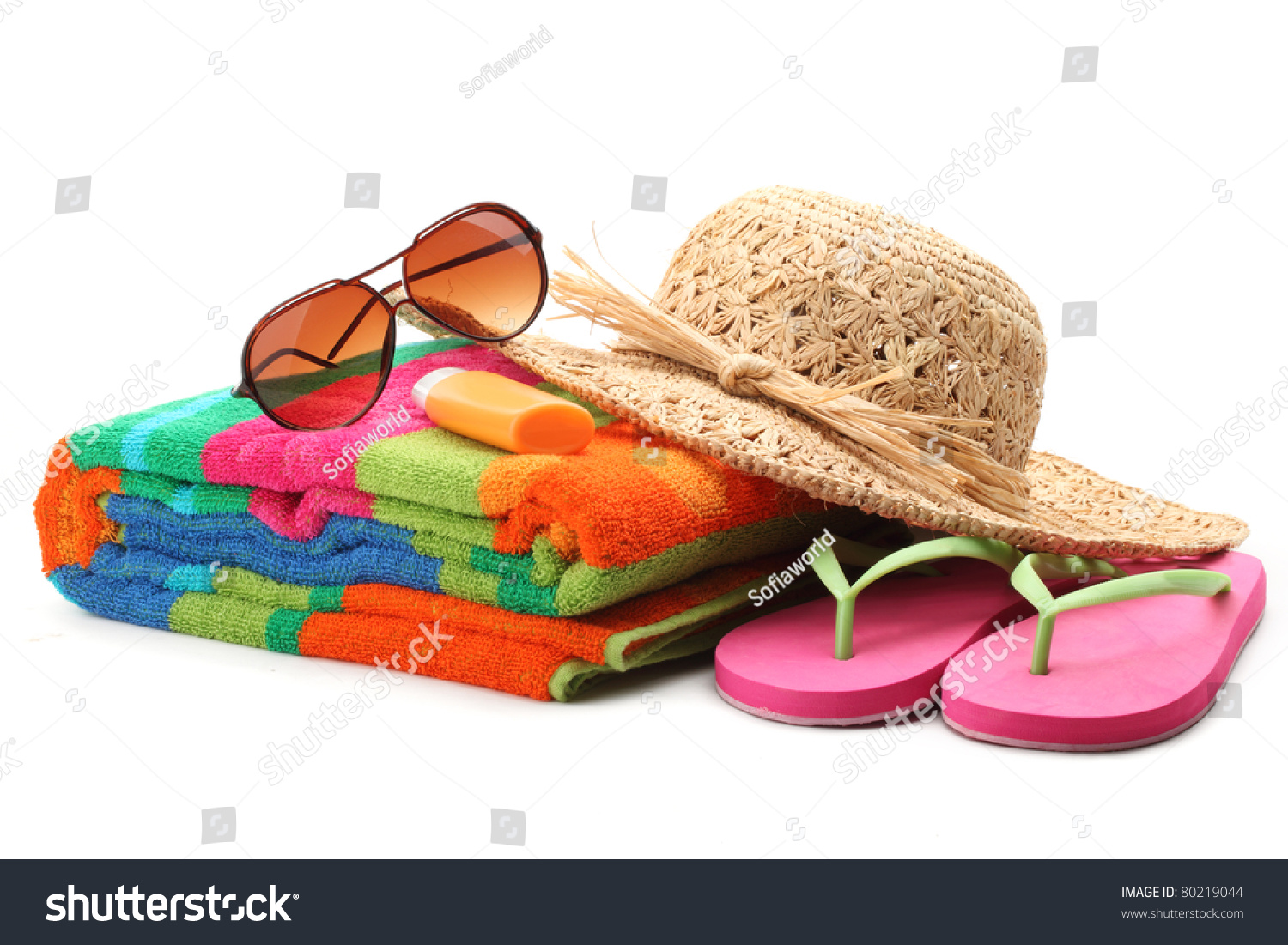 beach items straw hattowelflip flops sunglassesisolated. Black Bedroom Furniture Sets. Home Design Ideas