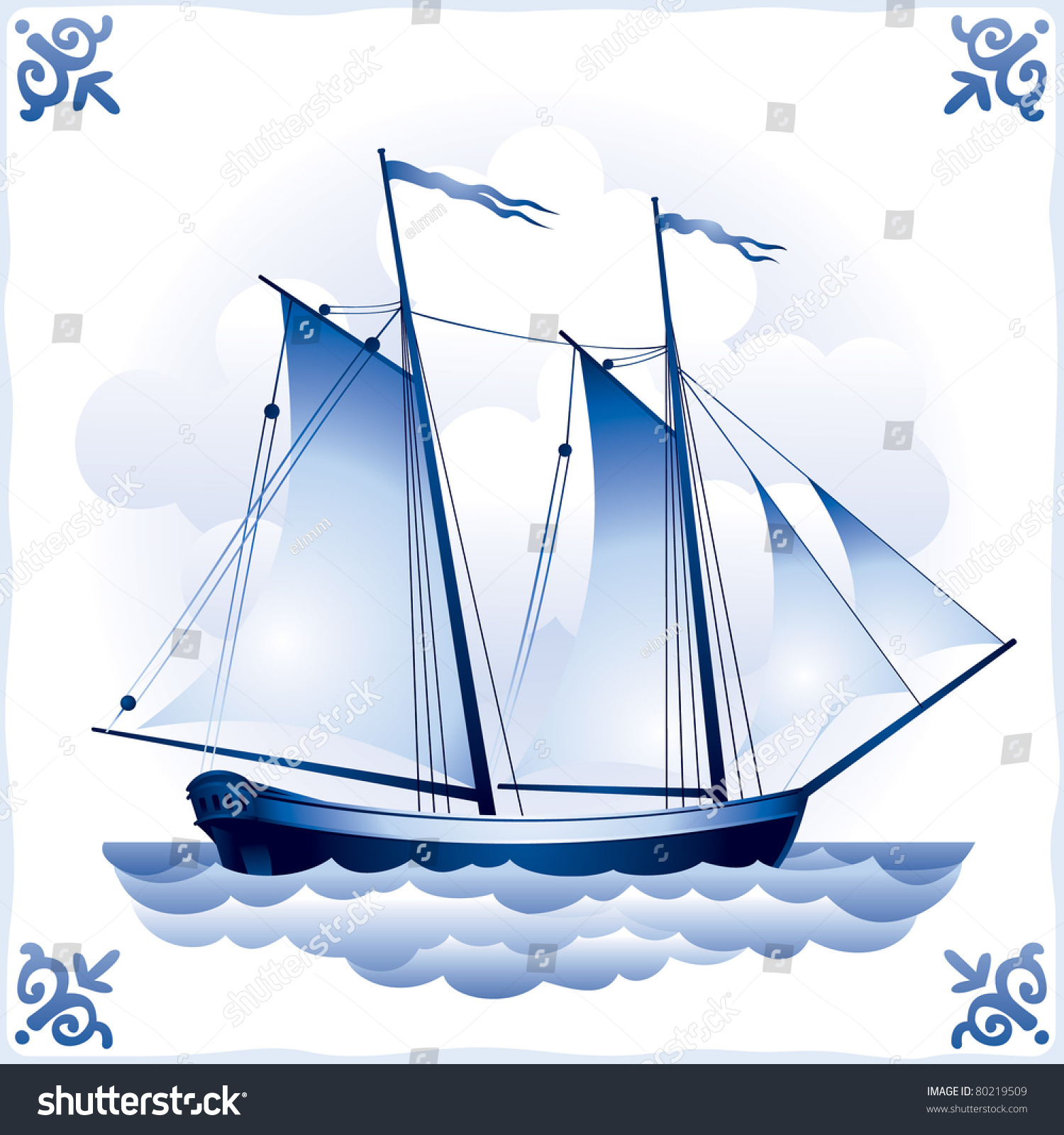 Ship on blue dutch tile 7 stock vector 80219509 shutterstock ship on the blue dutch tile 7 schooner glazed porcelain ceramic pattern dailygadgetfo Image collections