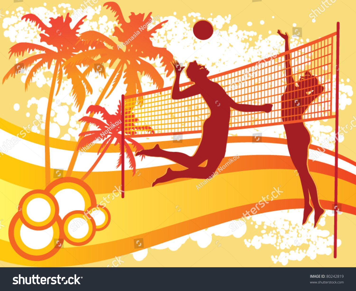 Abstract Design Of A Beach Volleyball Player Vector Image: Beach Volley Vector Stock Vector 80242819