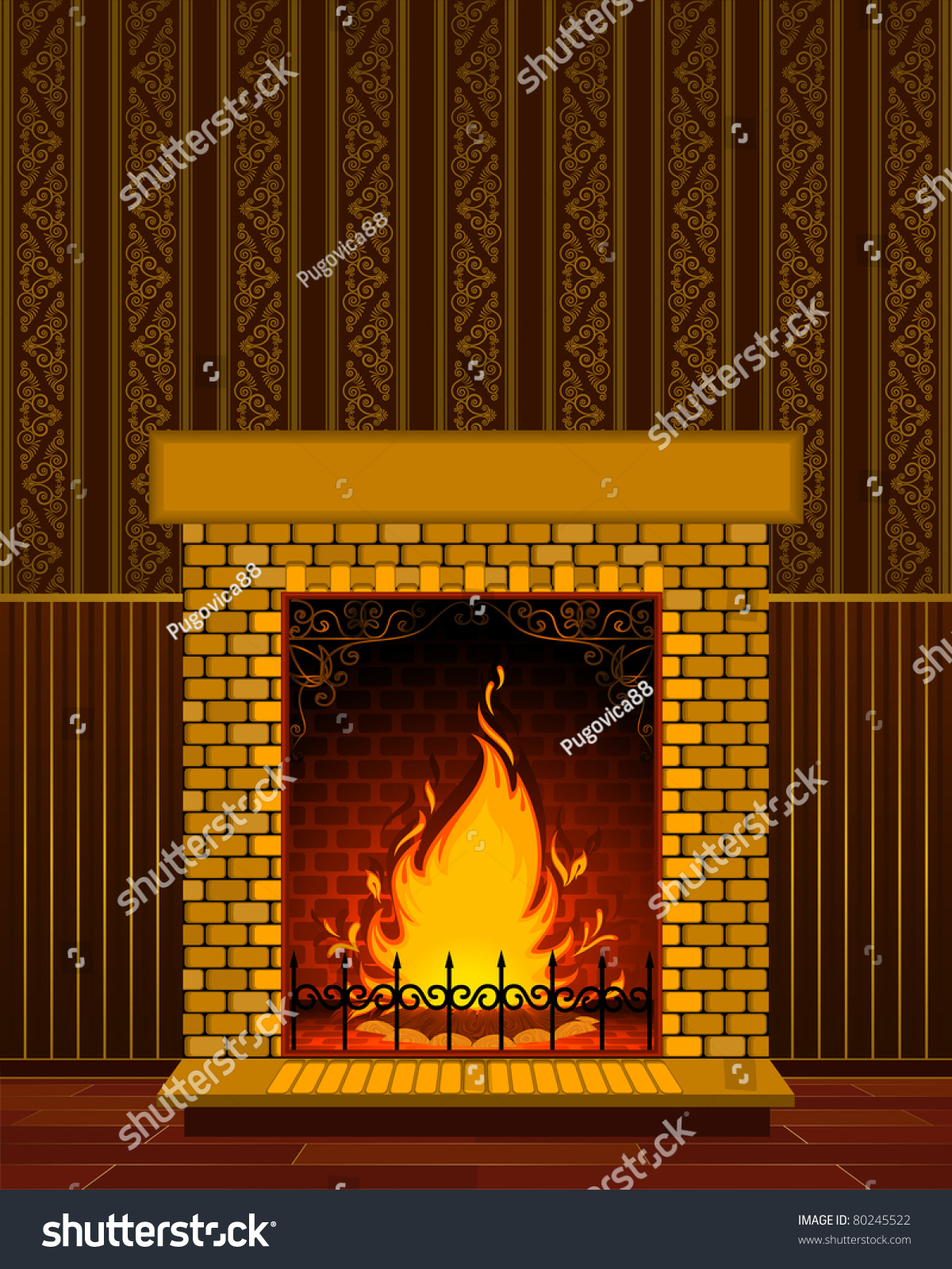 luxury stone fireplace flame vector stock vector 80245522