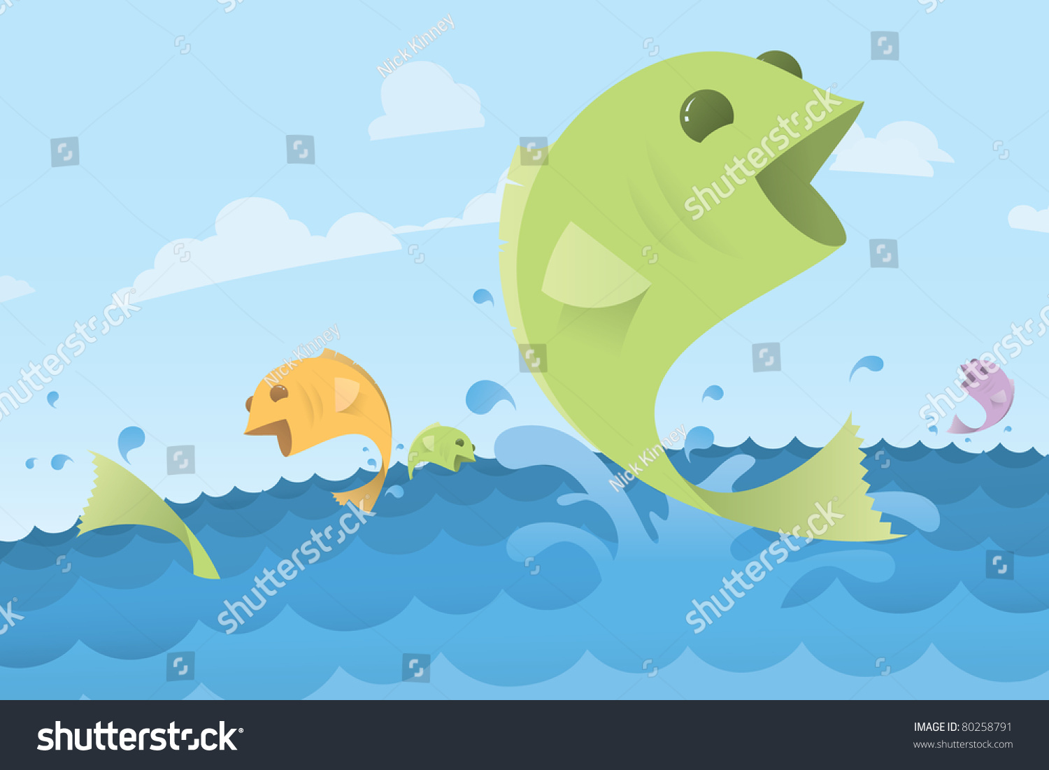 Freshwater fish jumping - Fish Jumping Out Of Ocean Water Waves Stylish Vector Illustration